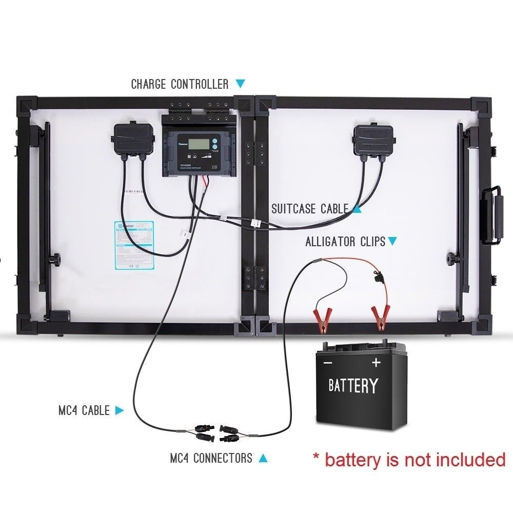 Renogy Eclipse 100W 12V Folding Solar Panel Suitcase RV Off Grid Battery  Charger