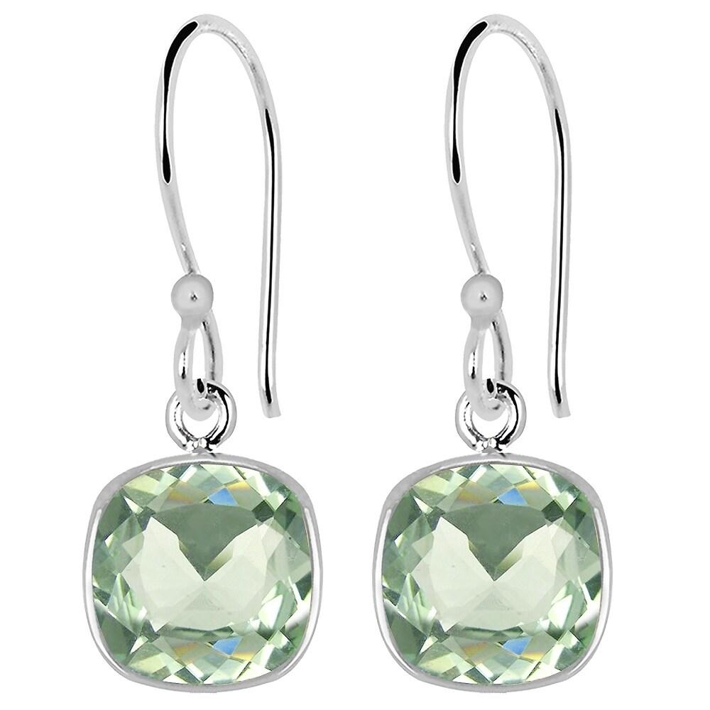 4c1adfe26 Essence Jewelry Sterling Silver 3.00 Ct Green Amethyst Dangle Earrings
