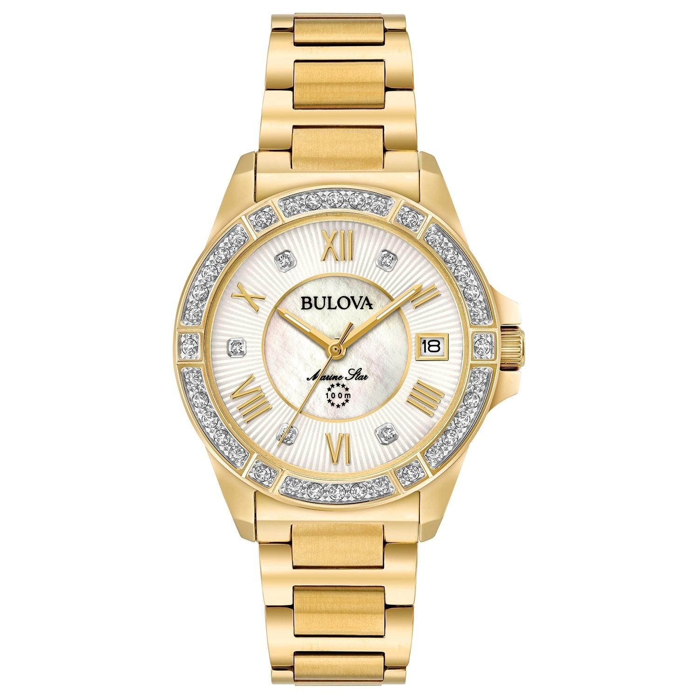 5f3878d9a86 Bulova Women s 98R235 Marine Star Goldtone Diamond Accent Bracelet Watch -  Gold-tone