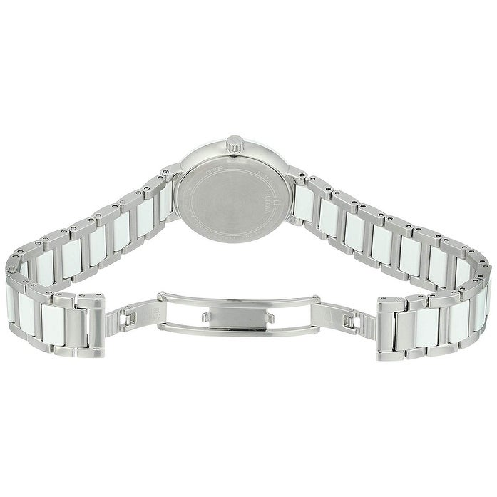 3374ae2df Shop Bulova Women's 98P158 Stainless and Ceramic Diamond Accent Dial  Bracelet Watch - Two-tone - Free Shipping Today - Overstock - 25433714