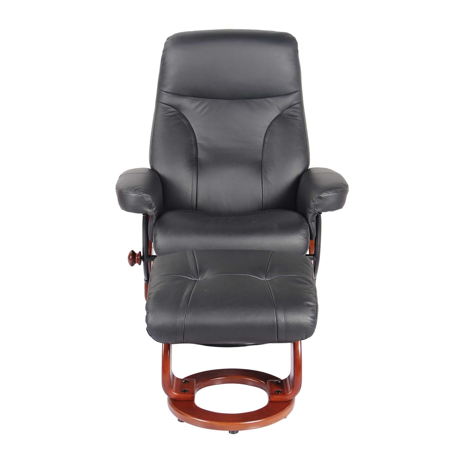 Homeroots Furniture Black Swivel Recliner Chair And Ottoman Free Shipping Today 25441653