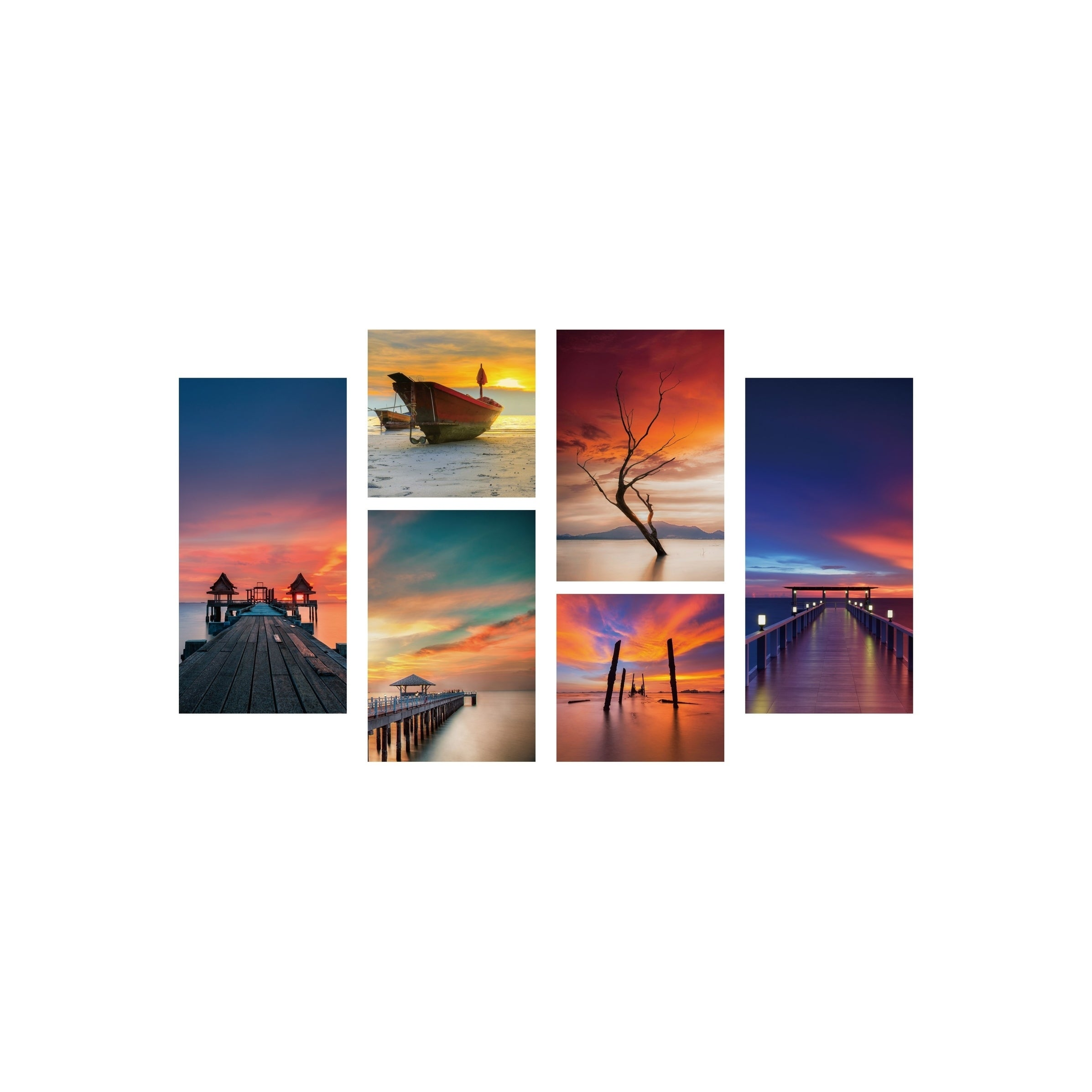 Shop chic home ocean view 6 piece set wrapped canvas wall art giclee print multi color 39 5 x 54 on sale free shipping today overstock 25442663