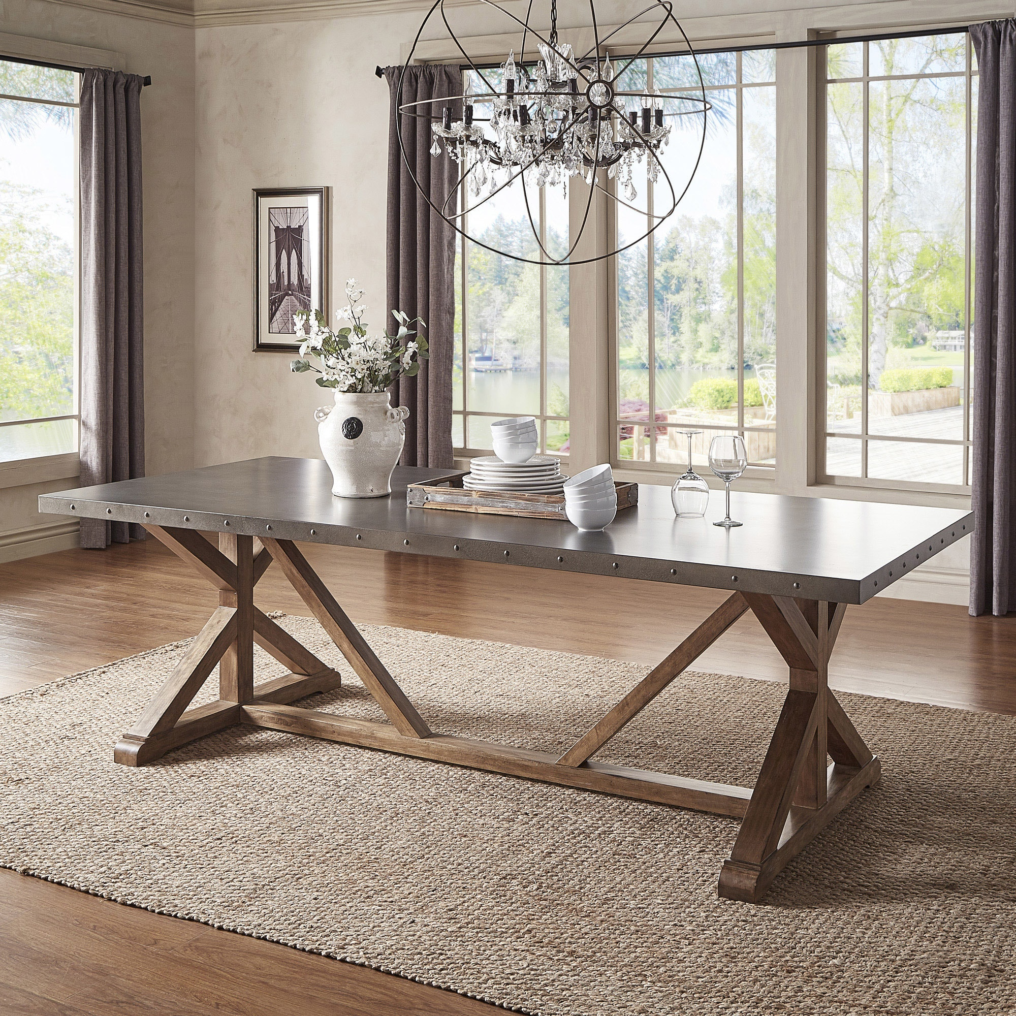 Shop Albee Rectangular Stainless Steel Top Dining Table With Poplar