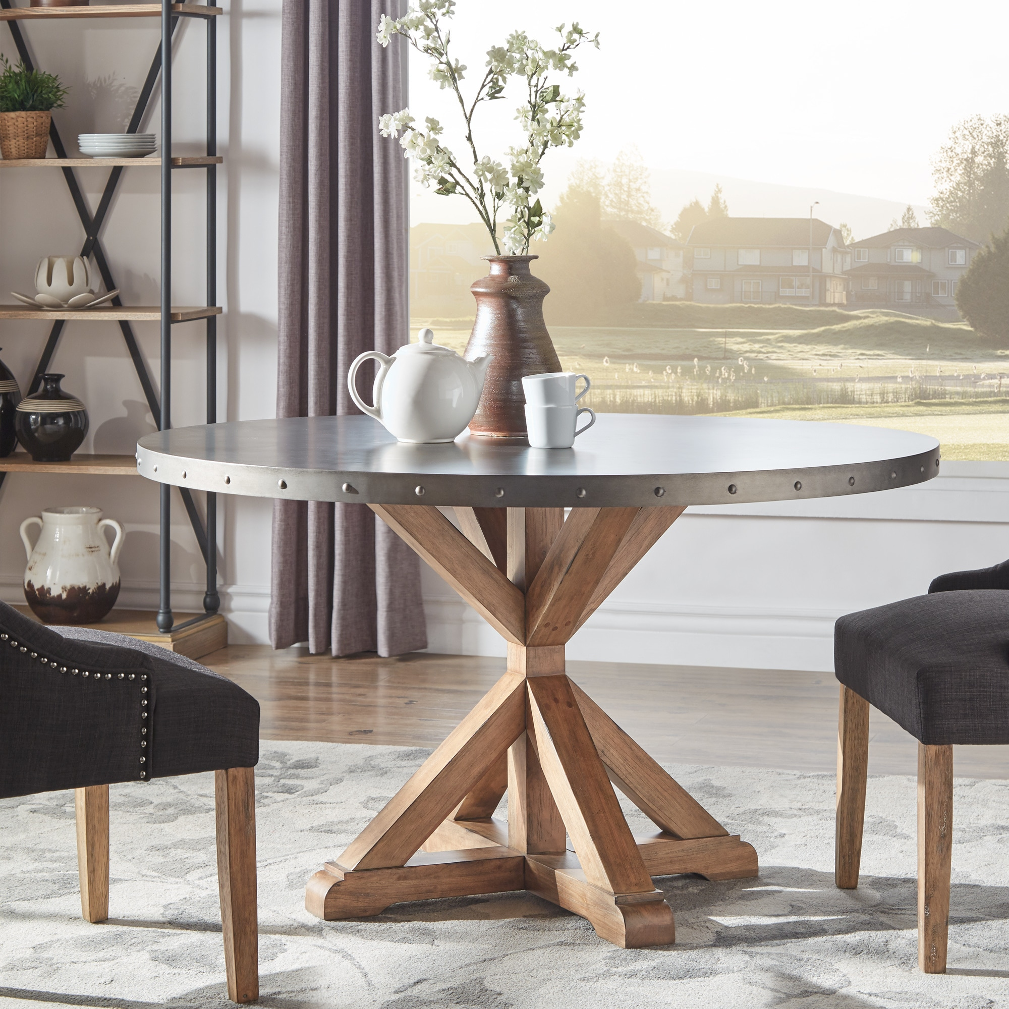Shop Albee Round Stainless Steel Top Dining Table With Poplar X Base