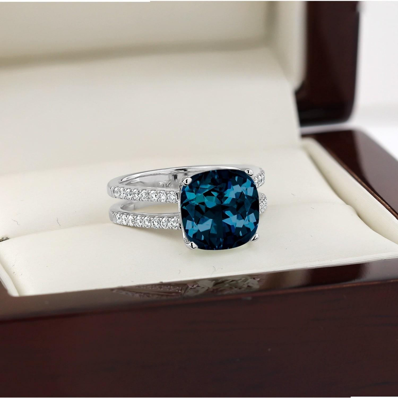 Auriya 5ct Fancy Cushion Cut London Blue Topaz And 1 4ctw Diamond Engagement Ring 14k Gold