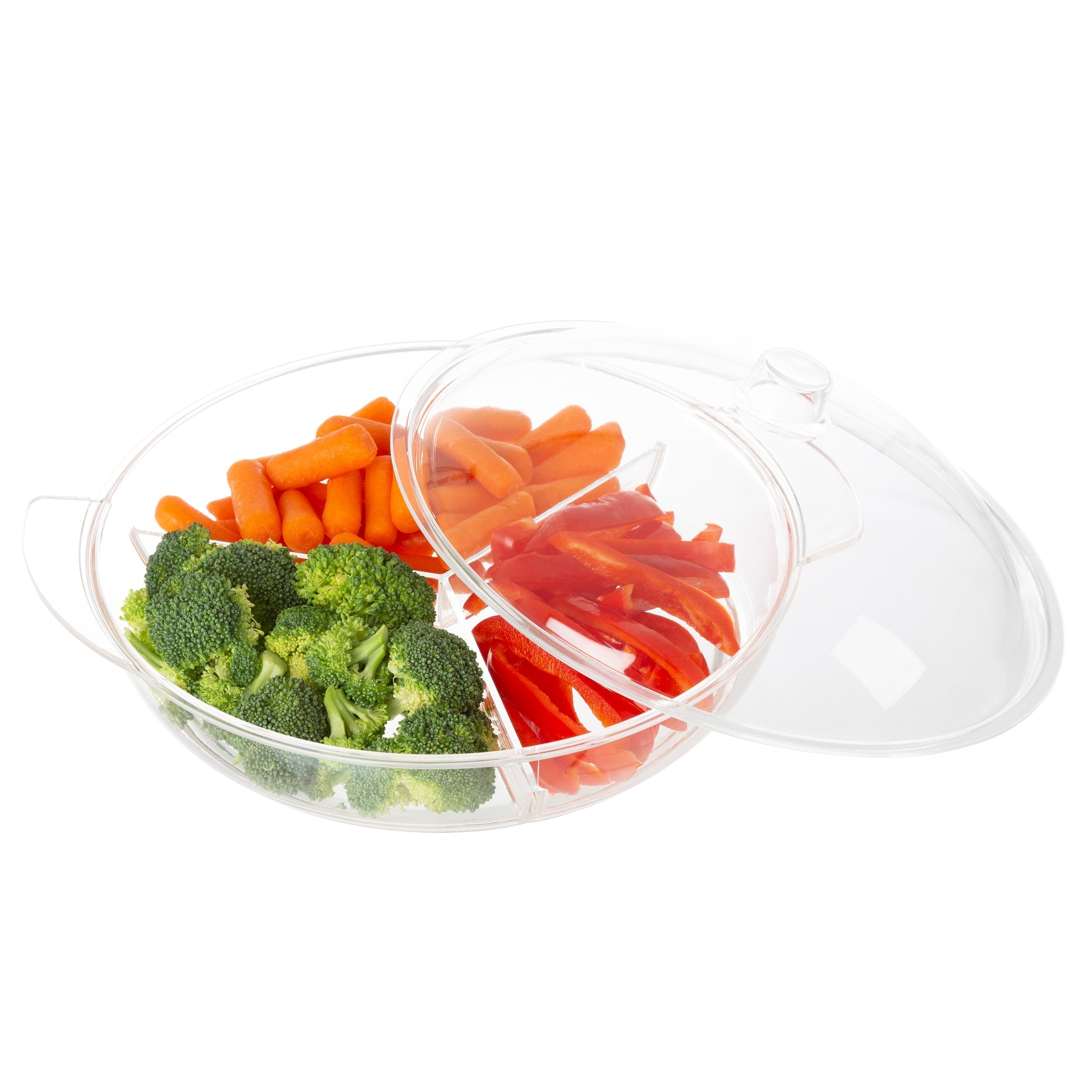 Cold Serving Tray Platter With Ice Chamber Lid And 3 Compartments For Fruit Veggies Cheese More By Clic Cuisine On Free Shipping
