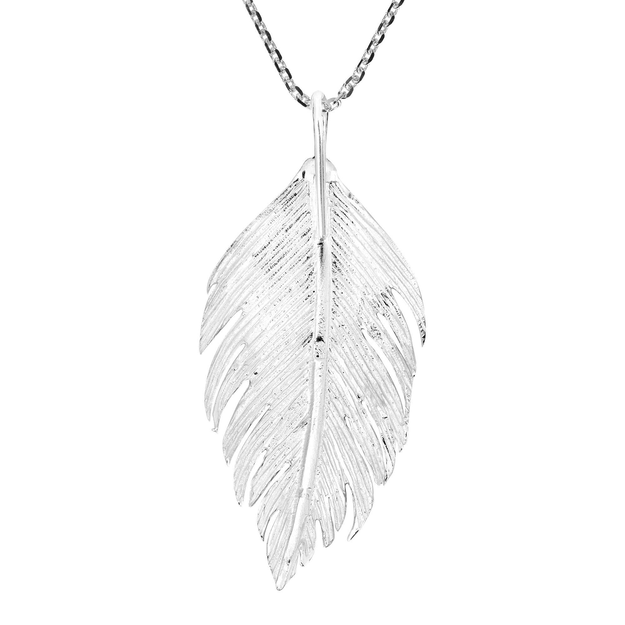 5454c289121f53 Handmade eautifully Detailed Sterling Silver Feather Pendant Necklace  (Thailand)