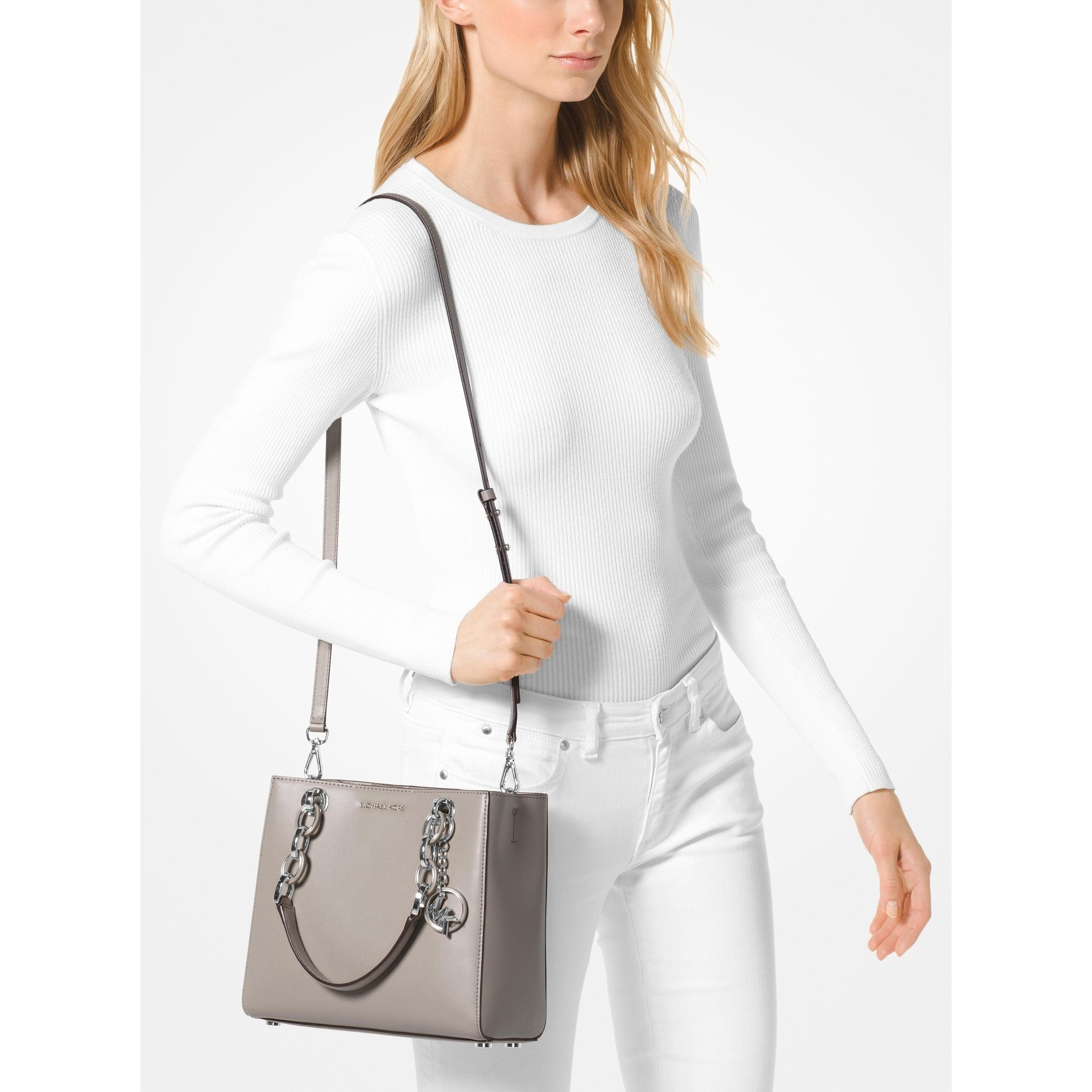 2199e81a1bb8b5 Shop Michael Kors Cynthia Dressy Leather Satchel Bag Grey/Silver - Ships To  Canada - Overstock - 25463836