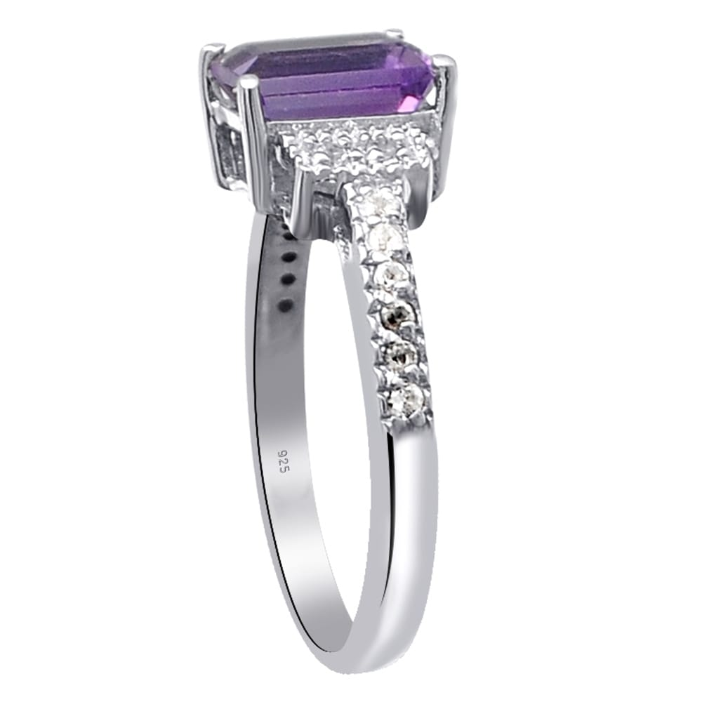 38dfc4dba25 Shop Sterling Silver 1.94 Carat Purple Amethyst   White Topaz Wedding Rings  - Free Shipping On Orders Over  45 - Overstock - 25468634