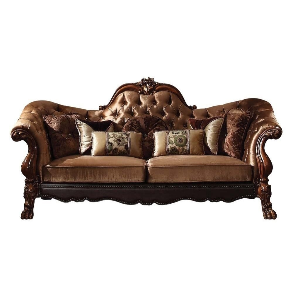 Shop traditional velvet and poly resin button tufted sofa with 7 pillows brown on sale free shipping today overstock com 25477516