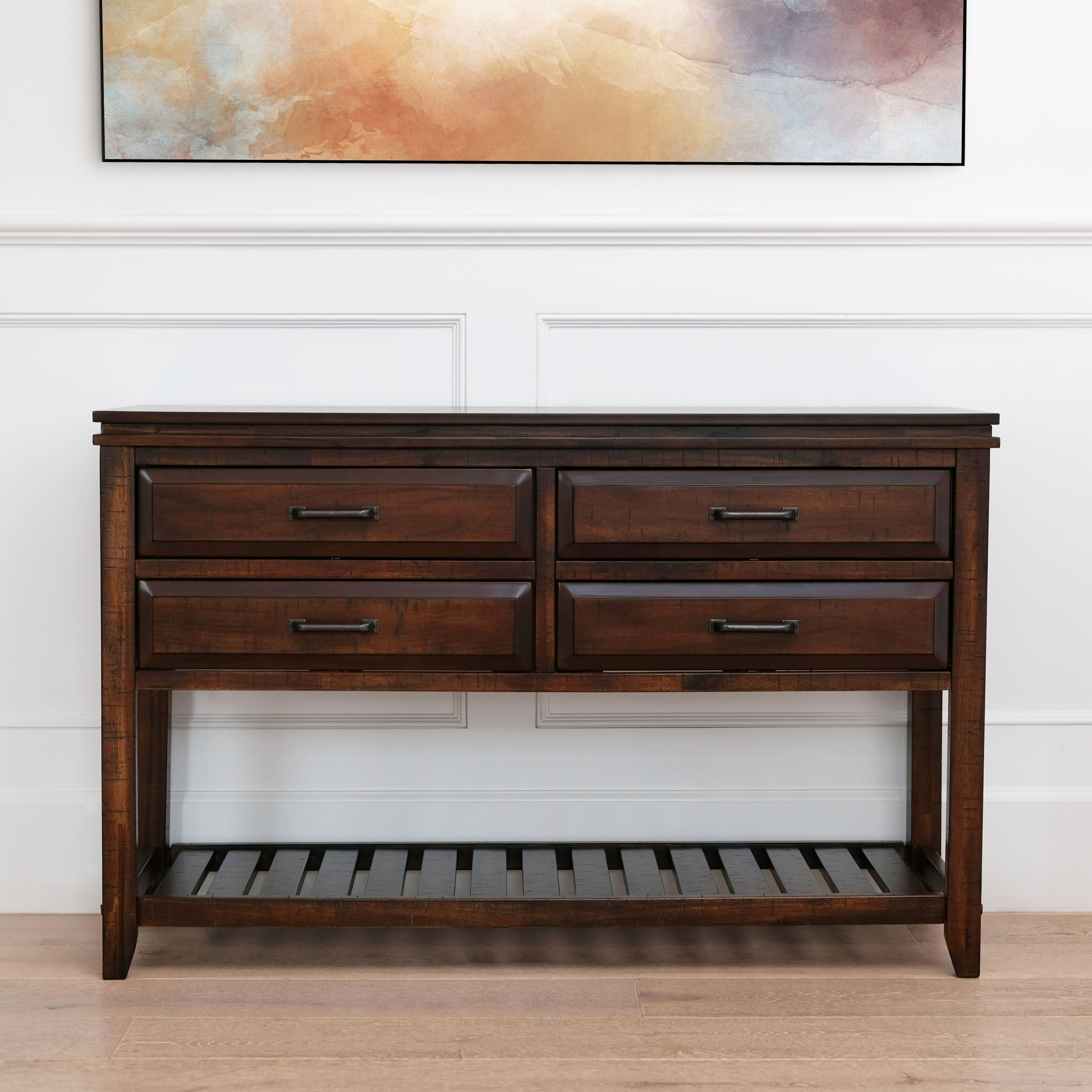 Abbyson Larson Brown 4 Drawer Rectangle Console Table