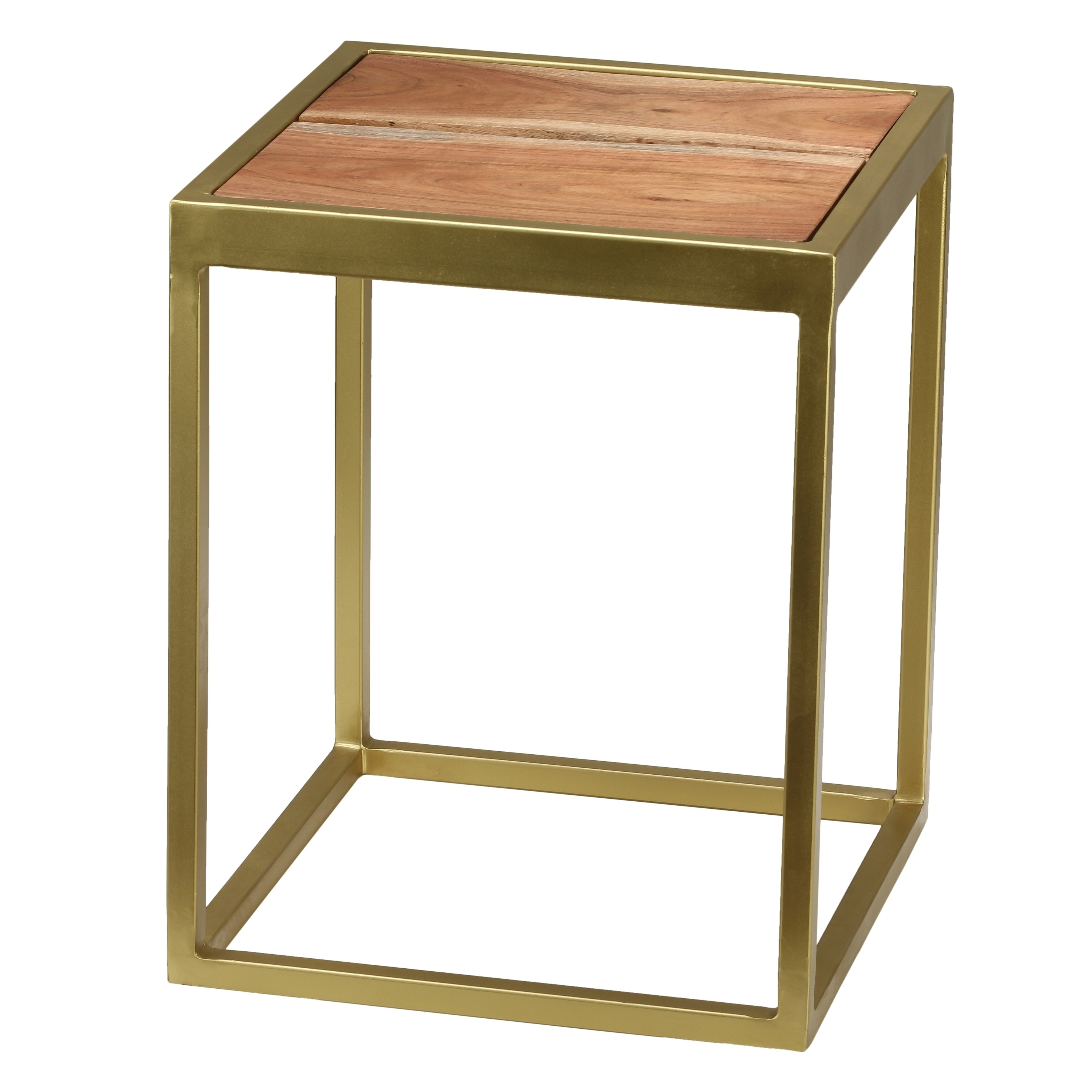 Bare Decor Dixie Brushed Goldtone Metal Acacia Wood End Table Free Shipping Today 25481221
