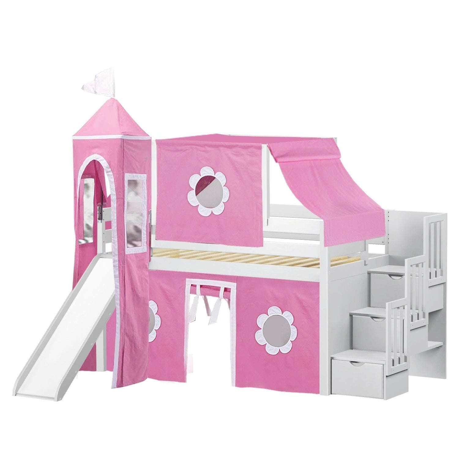 Shop Jackpot Princess White And Pink Pine Twin Low Loft Stairway