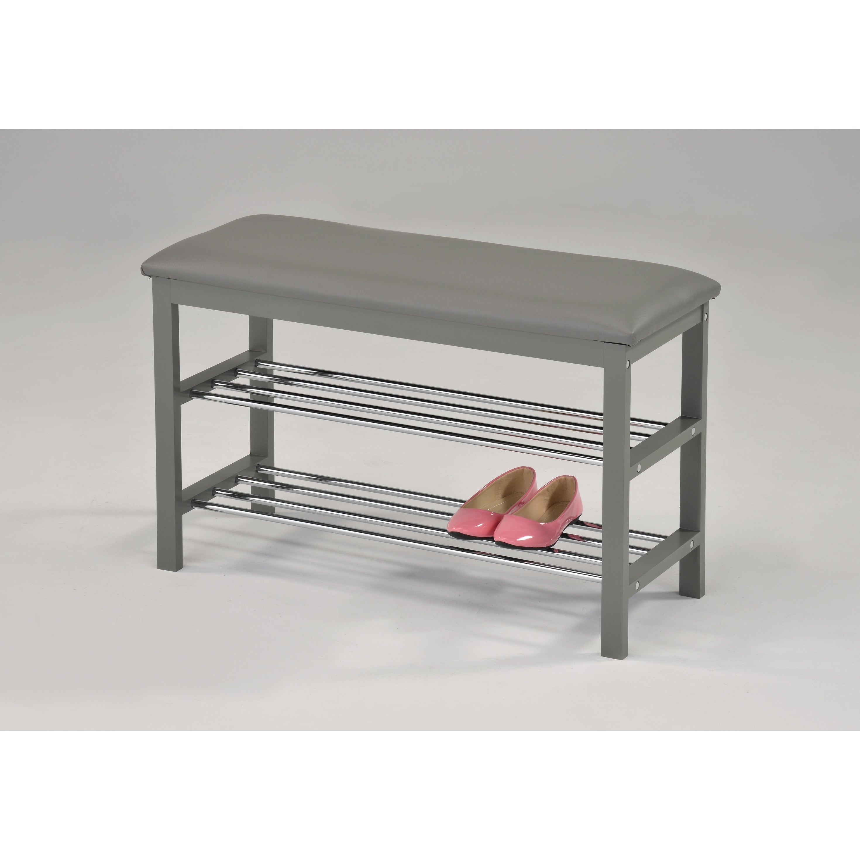 Shop Contemporary Shoe Rack Grey Chrome Free Shipping Today