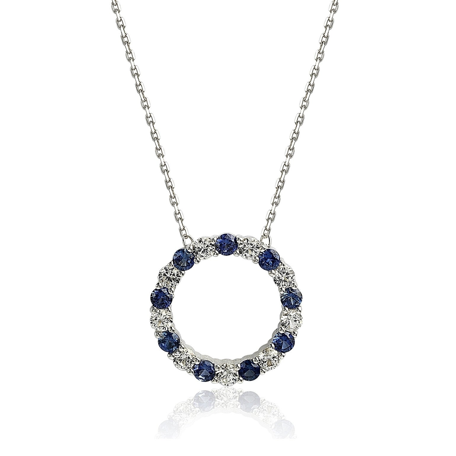 56c036d498b09 Suzy Levian Sterling Silver Sapphire & Diamond Accent Alternating Circle  Eternity Necklace