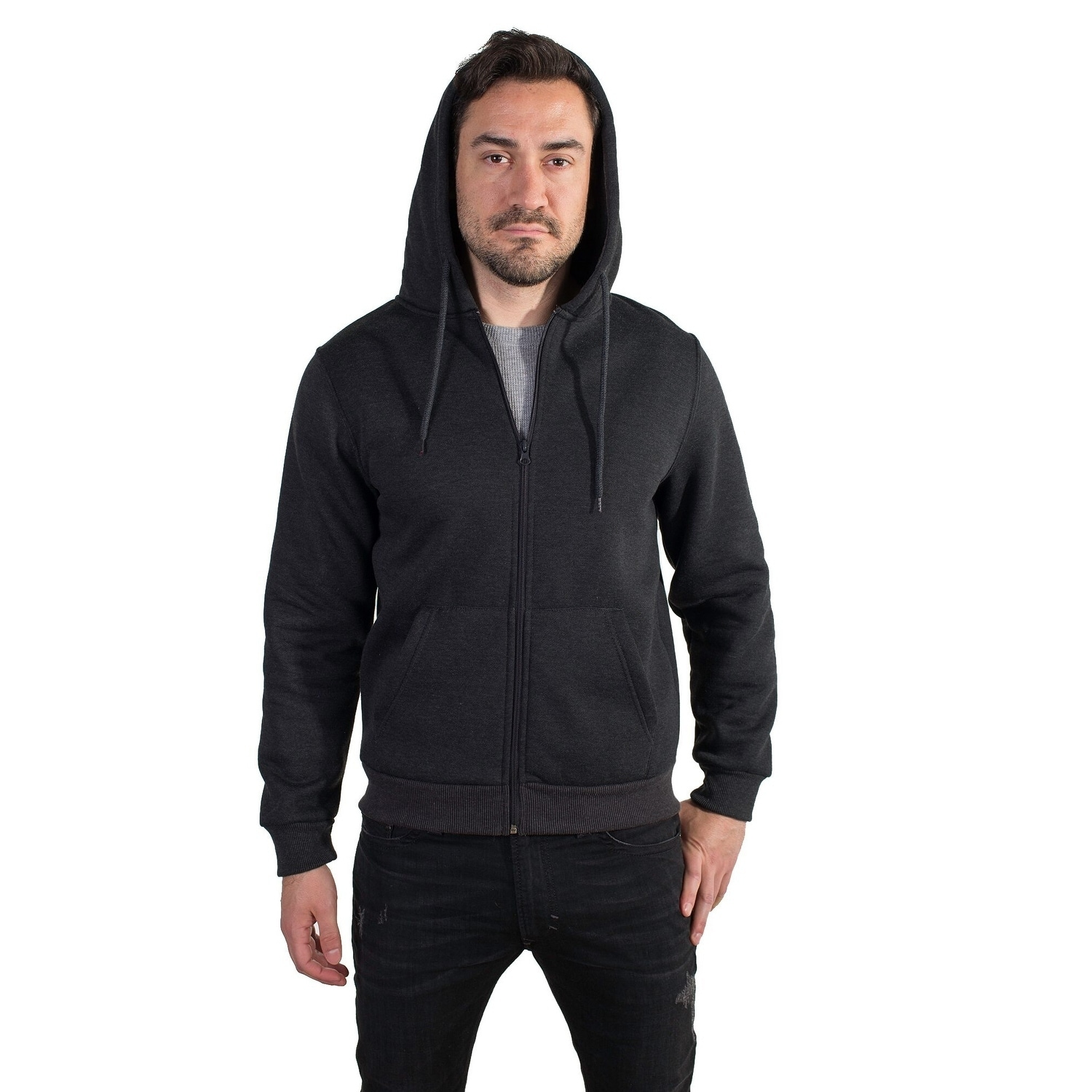 79b4ec8657e9 Shop Men s Fleece Knit Hoodie with Zippered Front - Free Shipping On ...