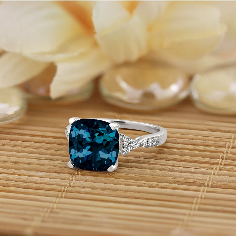 Auriya 1 1 5ct Fancy Cushion Cut London Blue Topaz And 1 4ctw Diamond Engagement Ring 14k Gold