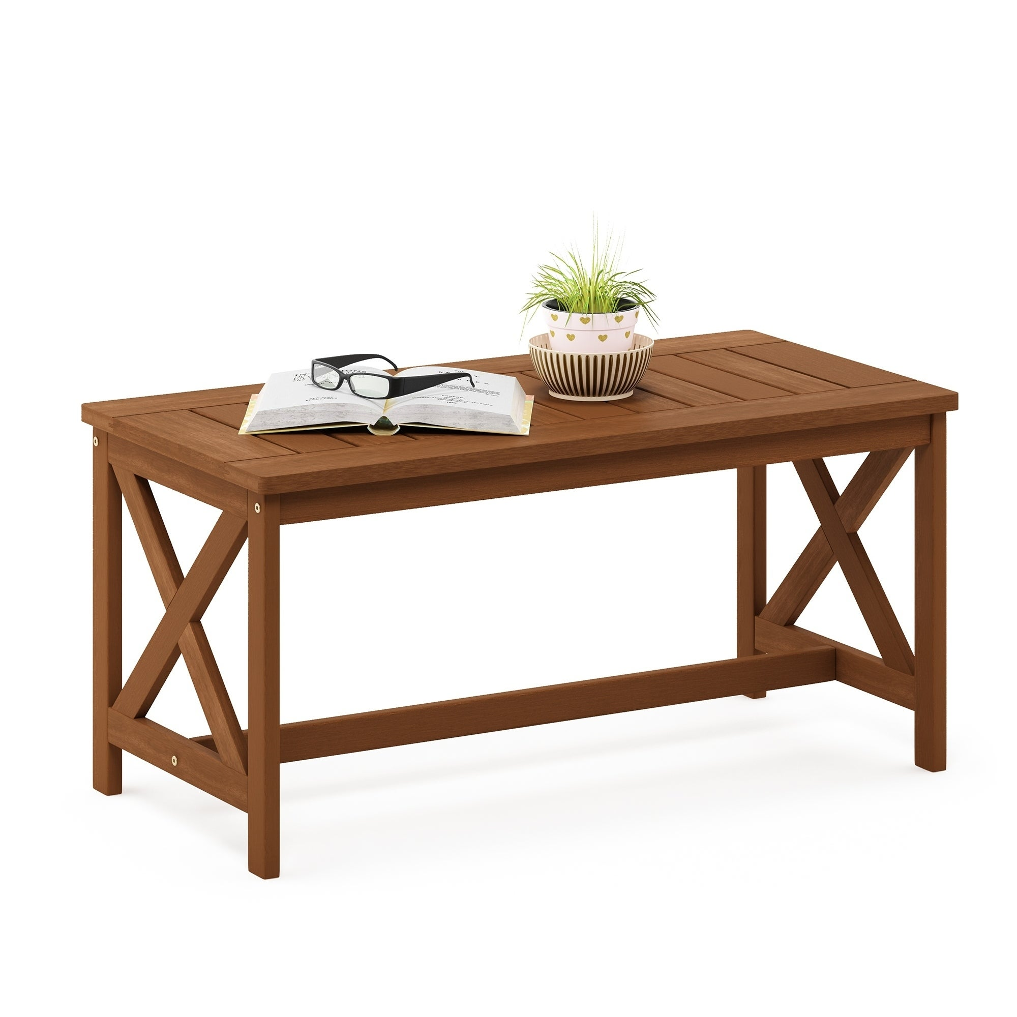 Havenside Home Ormond Hardwood Coffee Table With X Leg In Teak Oil On Free Shipping Today 25518393