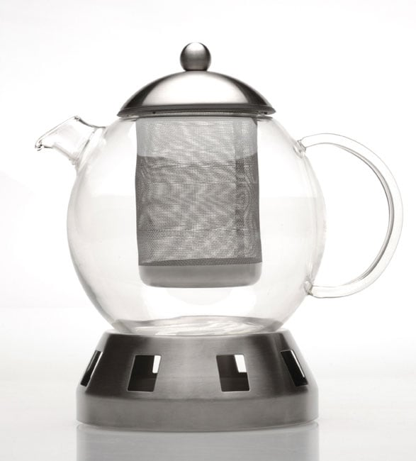 Shop 4 Piece Glass Teapot W Strainer Warmer Free Shipping Today