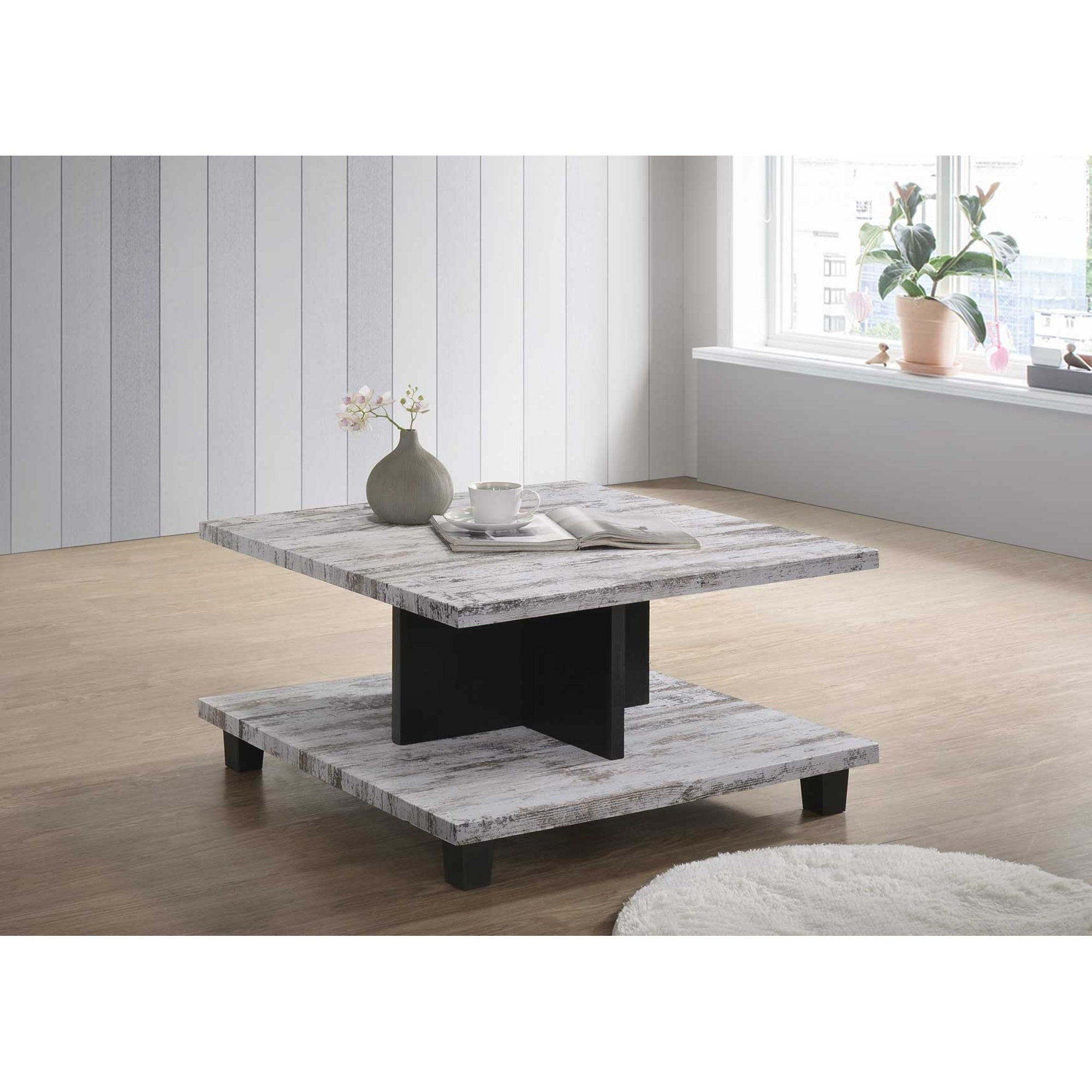 Picture of: Grey Black Wood Modern Square Coffee Table Overstock 25557860
