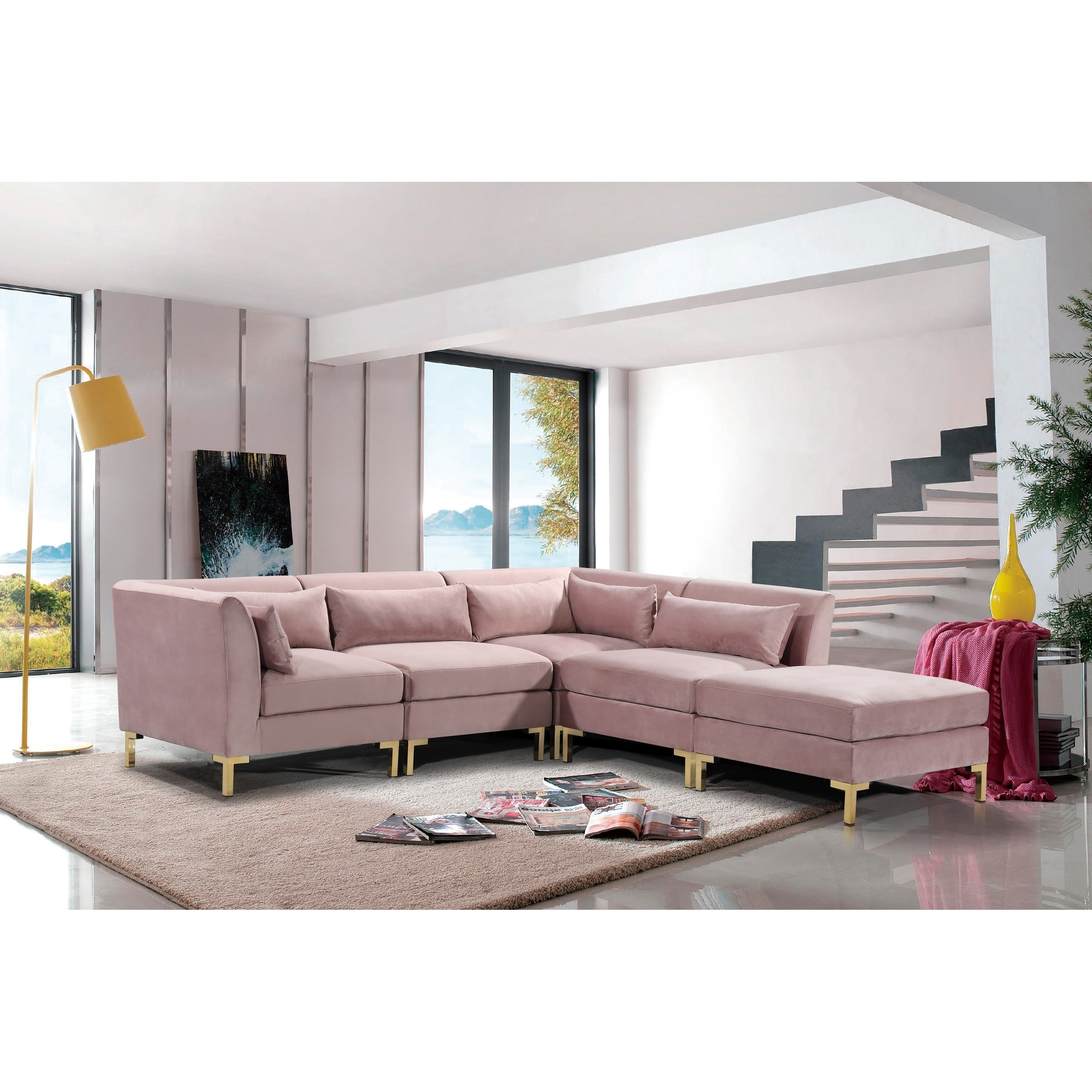 Shop Chic Home Guison Modular Chaise Sectional Sofa with 6 Throw ...
