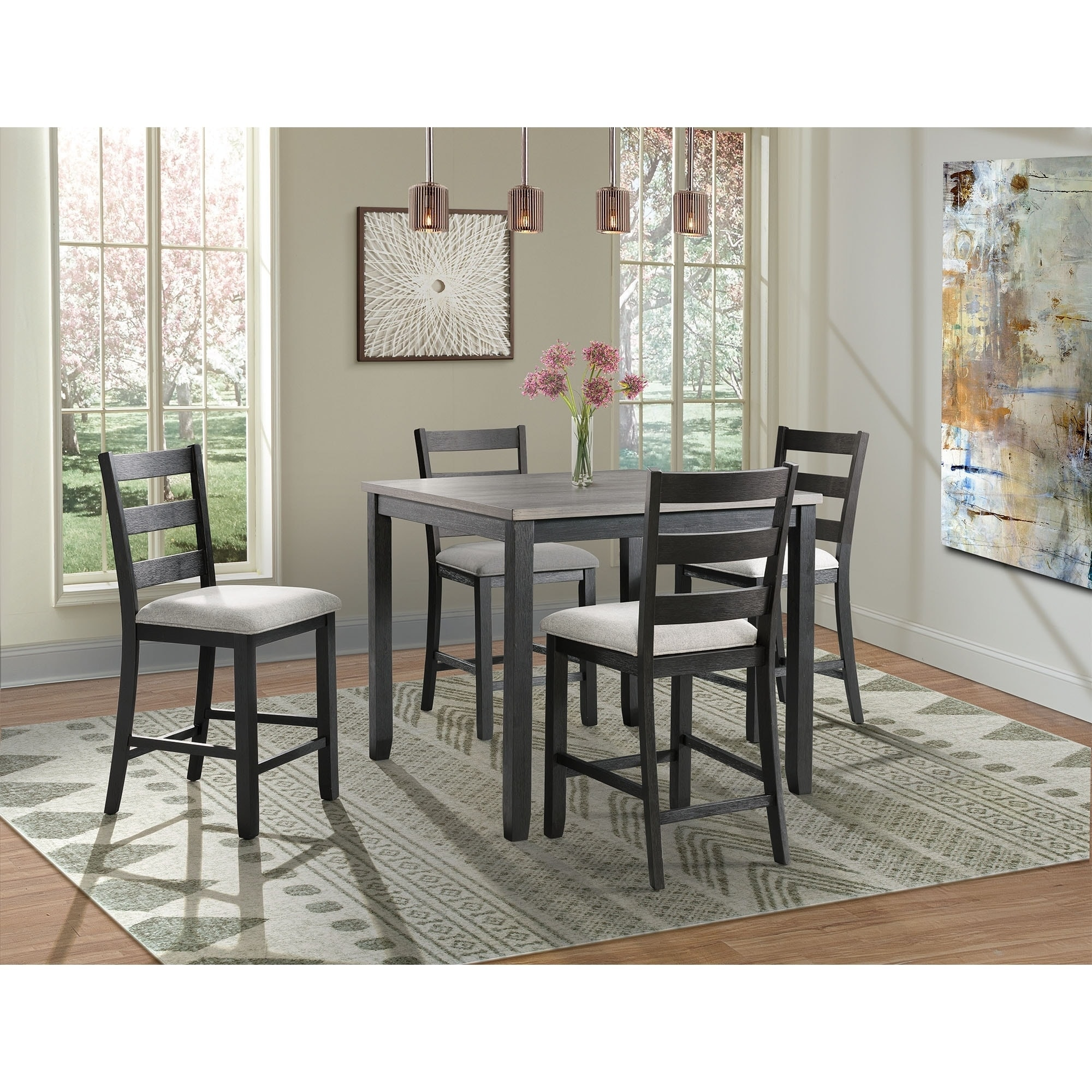 Picket House Kona Gray 5PC Counter Height Dining Set Shop - Free