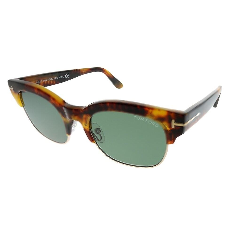 30ab9ec127 Tom Ford Square TF 597 Harry 55N Unisex Yellow Havana Gold Frame Green Lens  Sunglasses