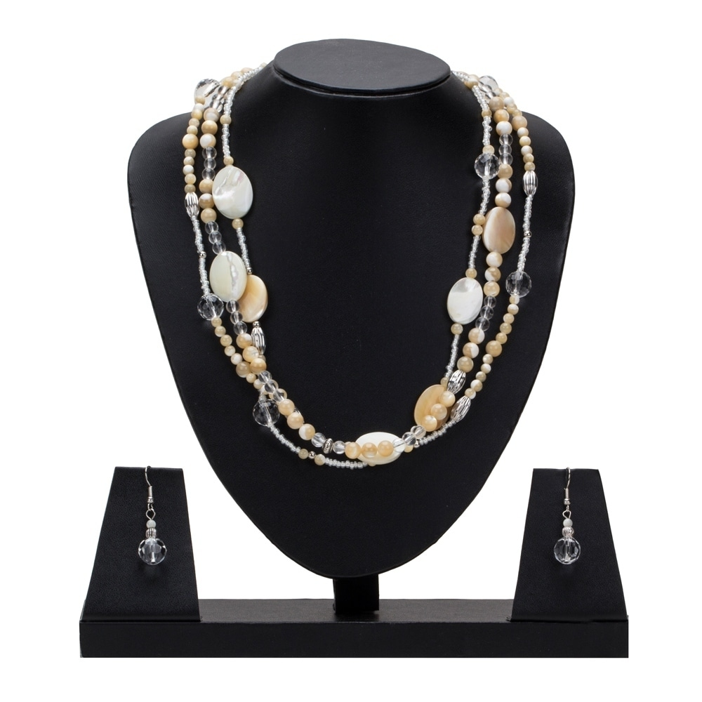 b9055d30481b0 Genuine Mother Of Pearl Triple Strand Necklace with Earrings By Gempro -  Off-white - drop length: 18 inches / 46 cms