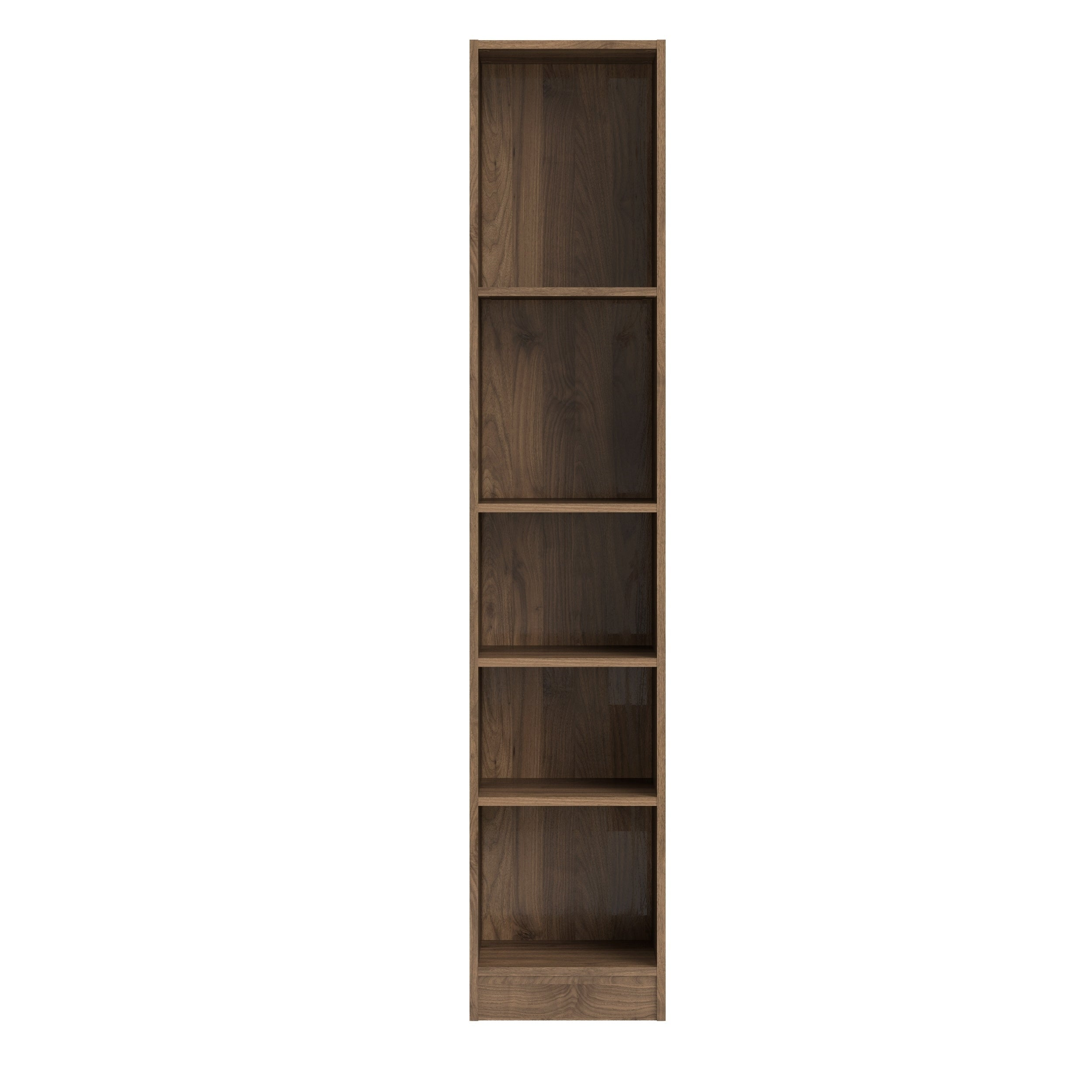Shop element walnut 5 shelf tall narrow bookcase free shipping today overstock com 25572636