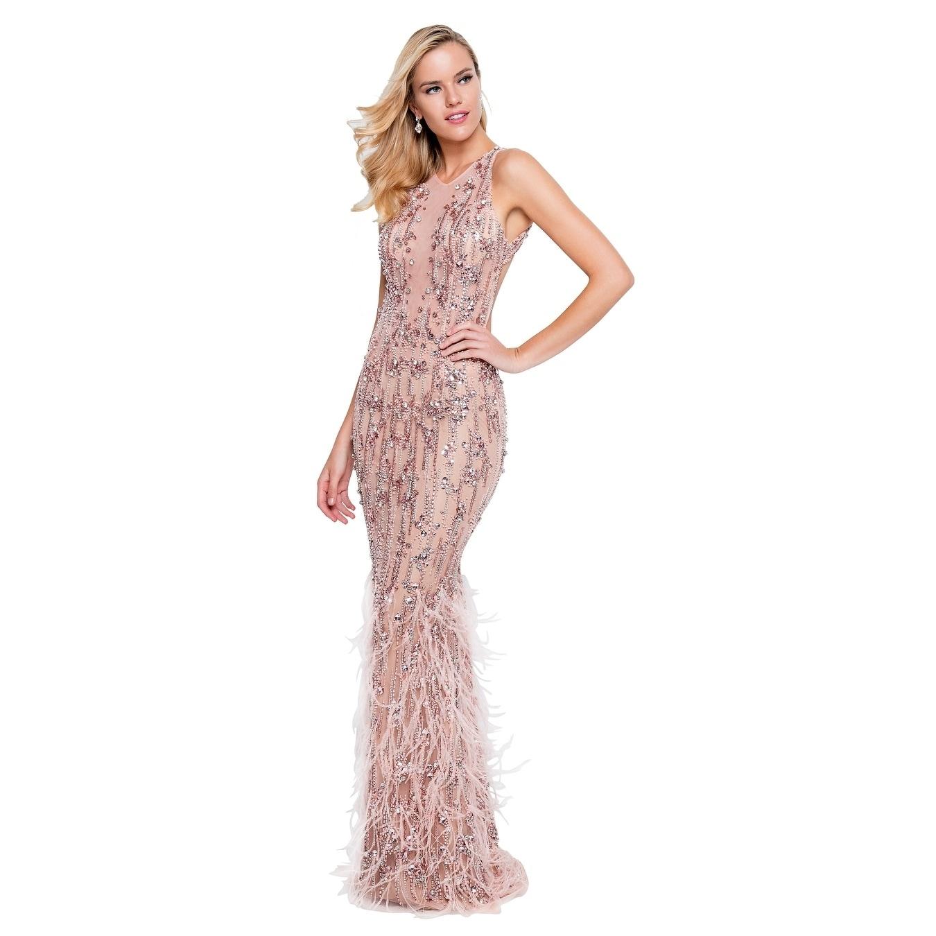a7f86f4f8d8 Amazon.com  terani couture dresses. Terani Couture High-Neck Beaded Bodice  ...