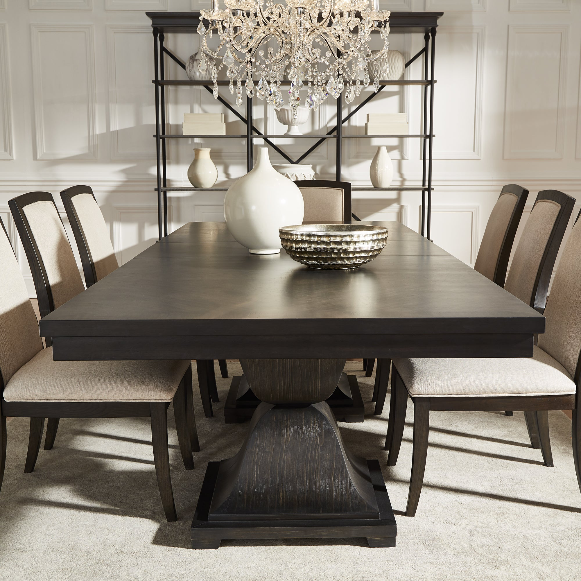 Shop Monaco Scratch Resistant Extending 118 Inch Dining Set With Turkish Coffee Finish Chairs By INSPIRE Q Artisan