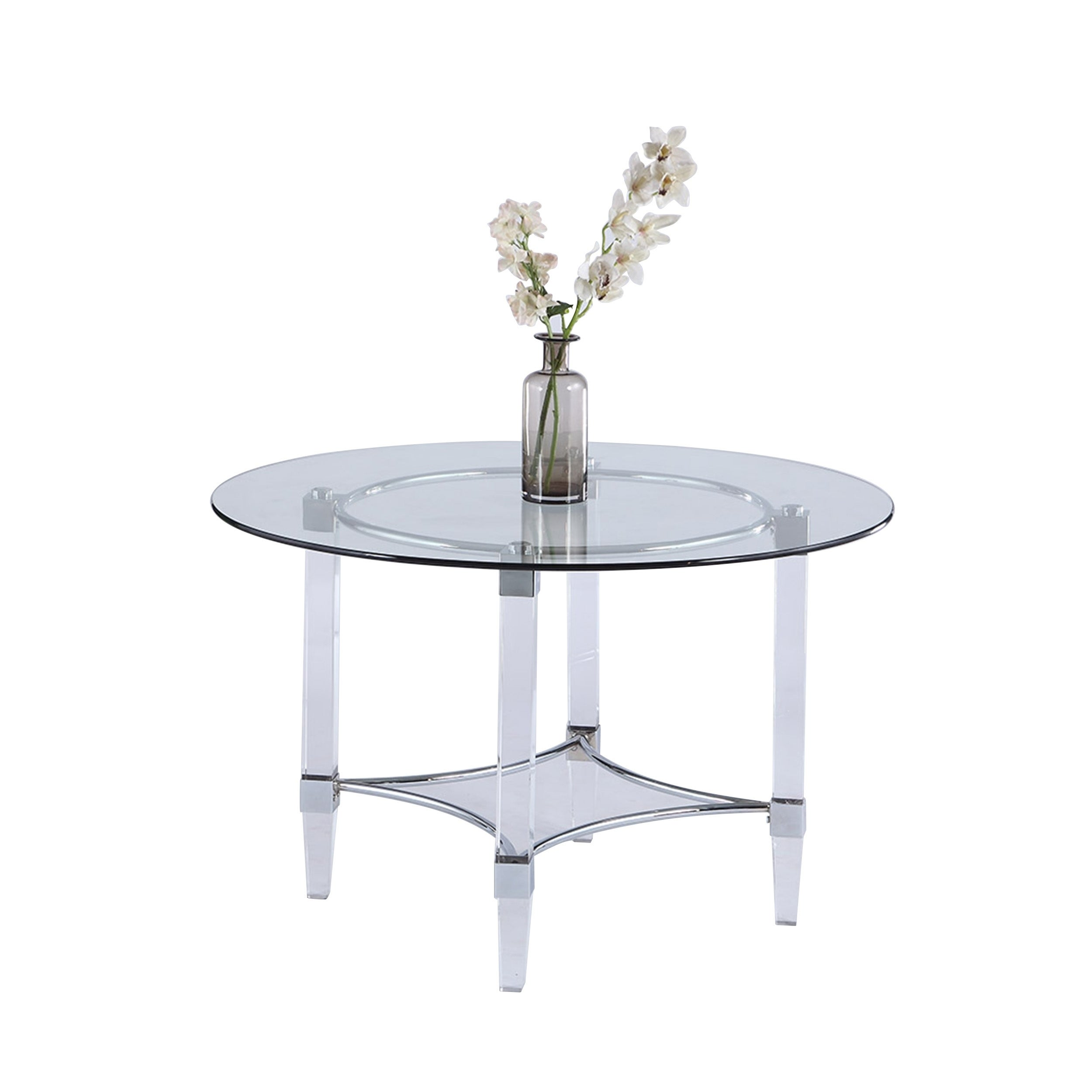 Somette 48 Round Gl And Acrylic Dining Table Clear Free Shipping Today 25577177