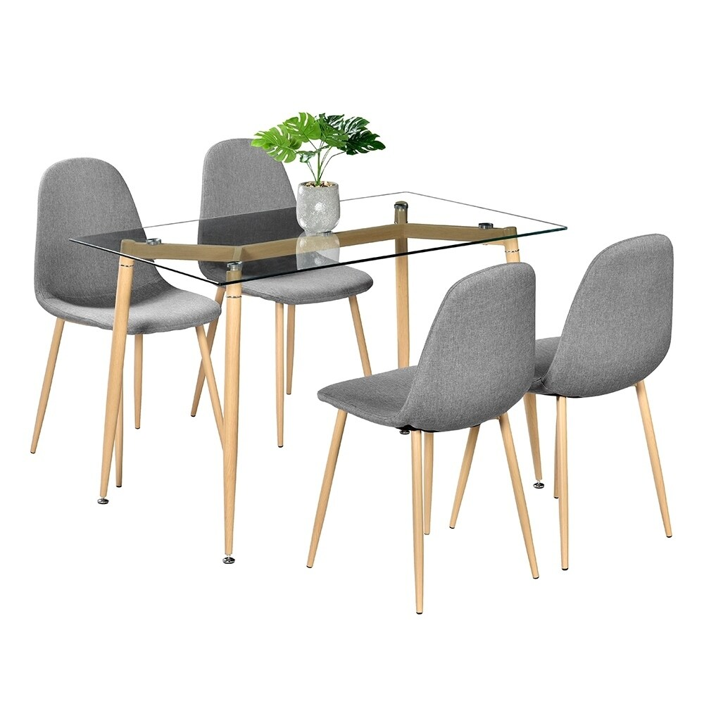 Simple transparent tempered glass dining table with 4pcs wood chairs set