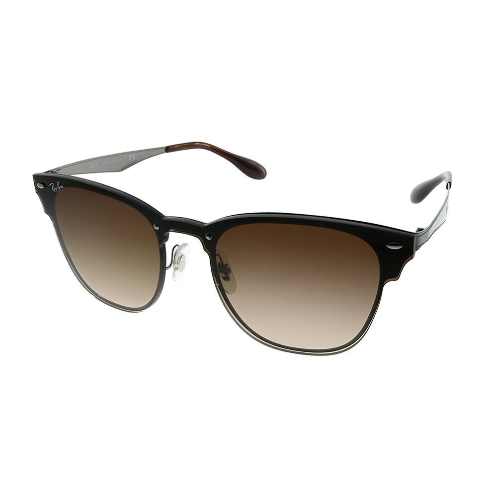 c9d7908e35 Ray-Ban Clubmaster RB 3576N Blaze Clubmaster 041 13 Unisex Gunmetal Frame  Brown Gradient Lens Sunglasses