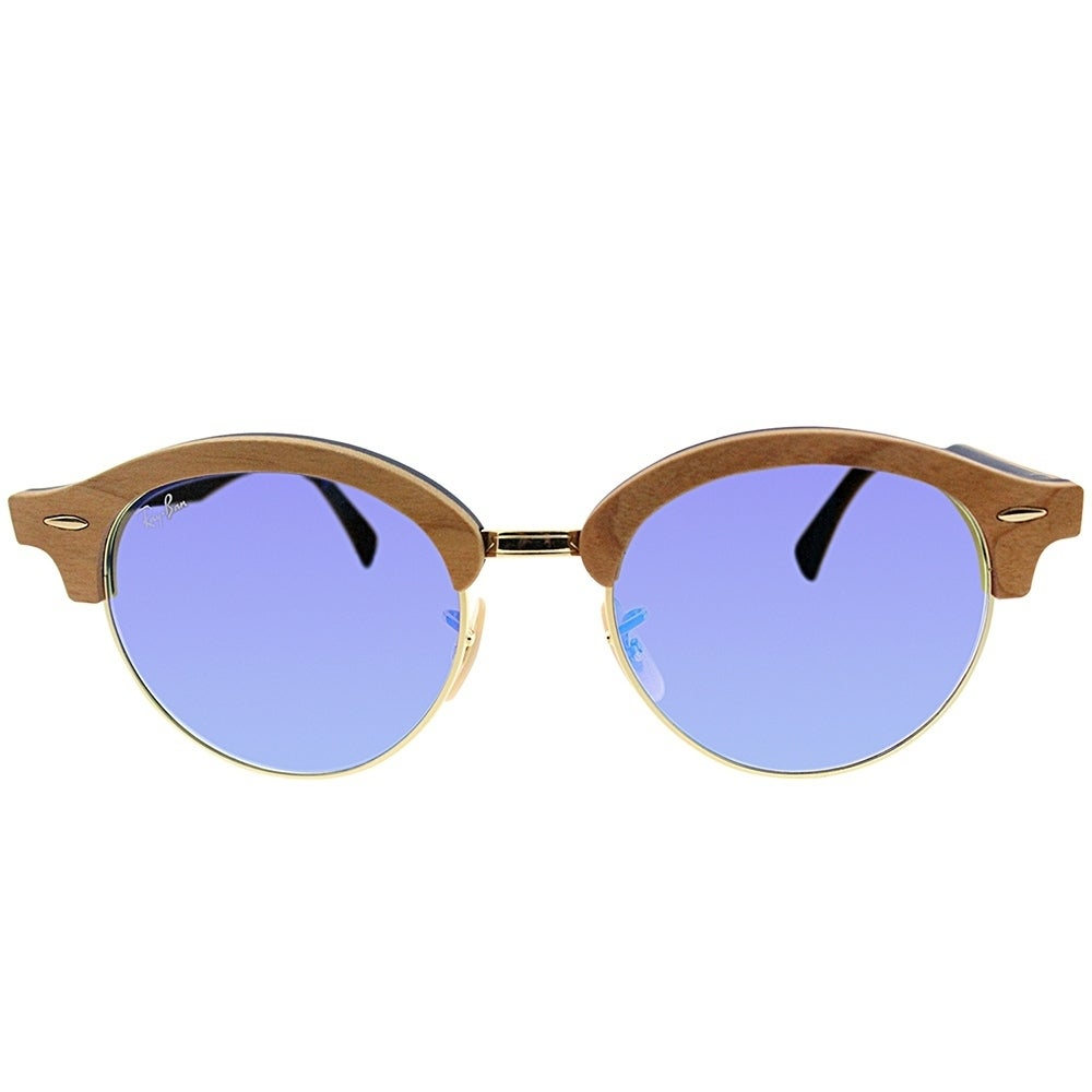 73c313f4af Shop Ray-Ban Clubmaster RB 4246M Clubround Wood 11807Q Unisex Brown Wood  Frame Blue Gradient Flash Lens Sunglasses - Free Shipping Today - Overstock  - ...