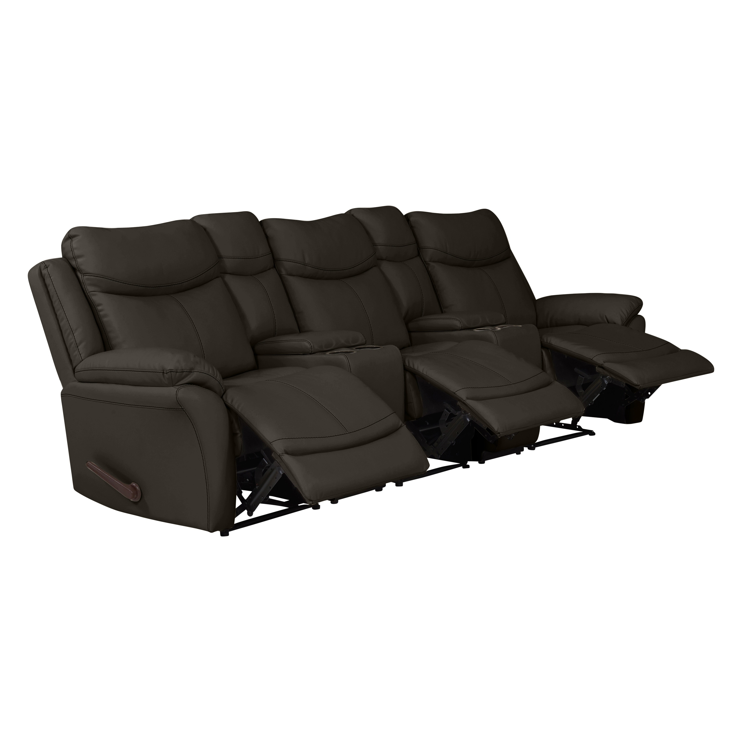 Shop Copper Grove Peqin 3-seat Faux Leather Recliner Sofa with Power ...