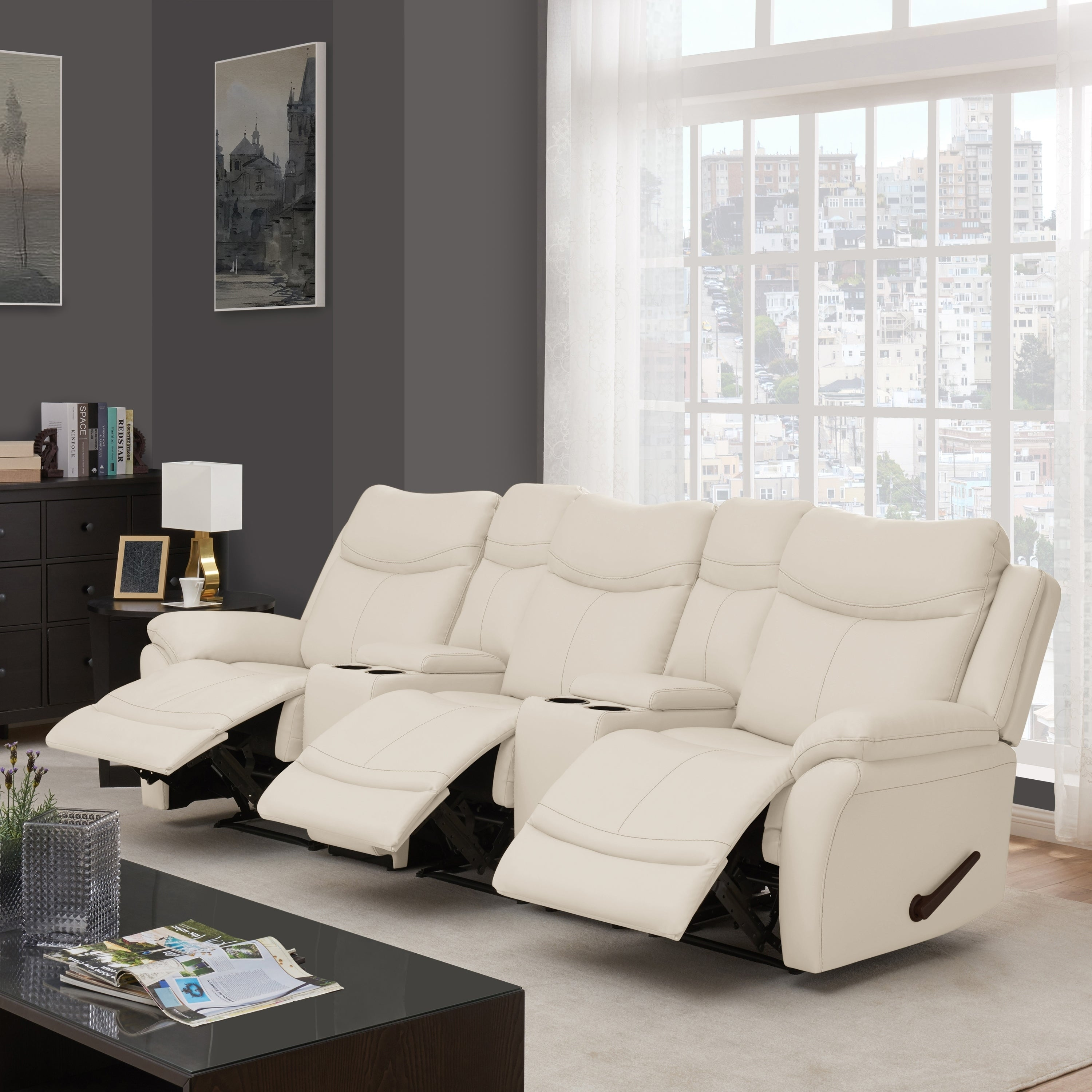 Copper Grove Peqin 3-seat Faux Leather Recliner Sofa with Power Storage  Console