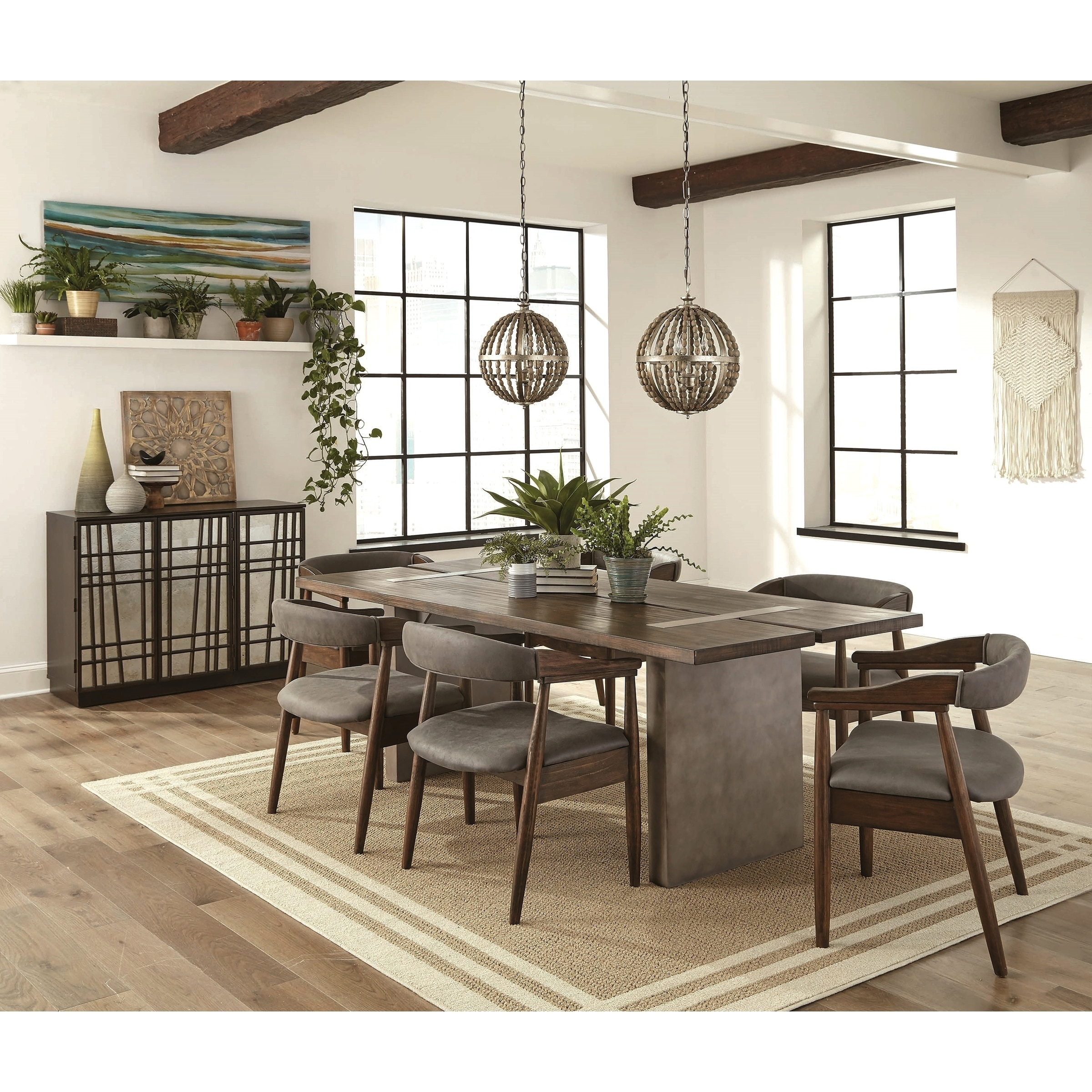 shop crafted danish design dining set with buffet accent cabinet rh overstock com antique dining set with buffet dining set with buffet for sale