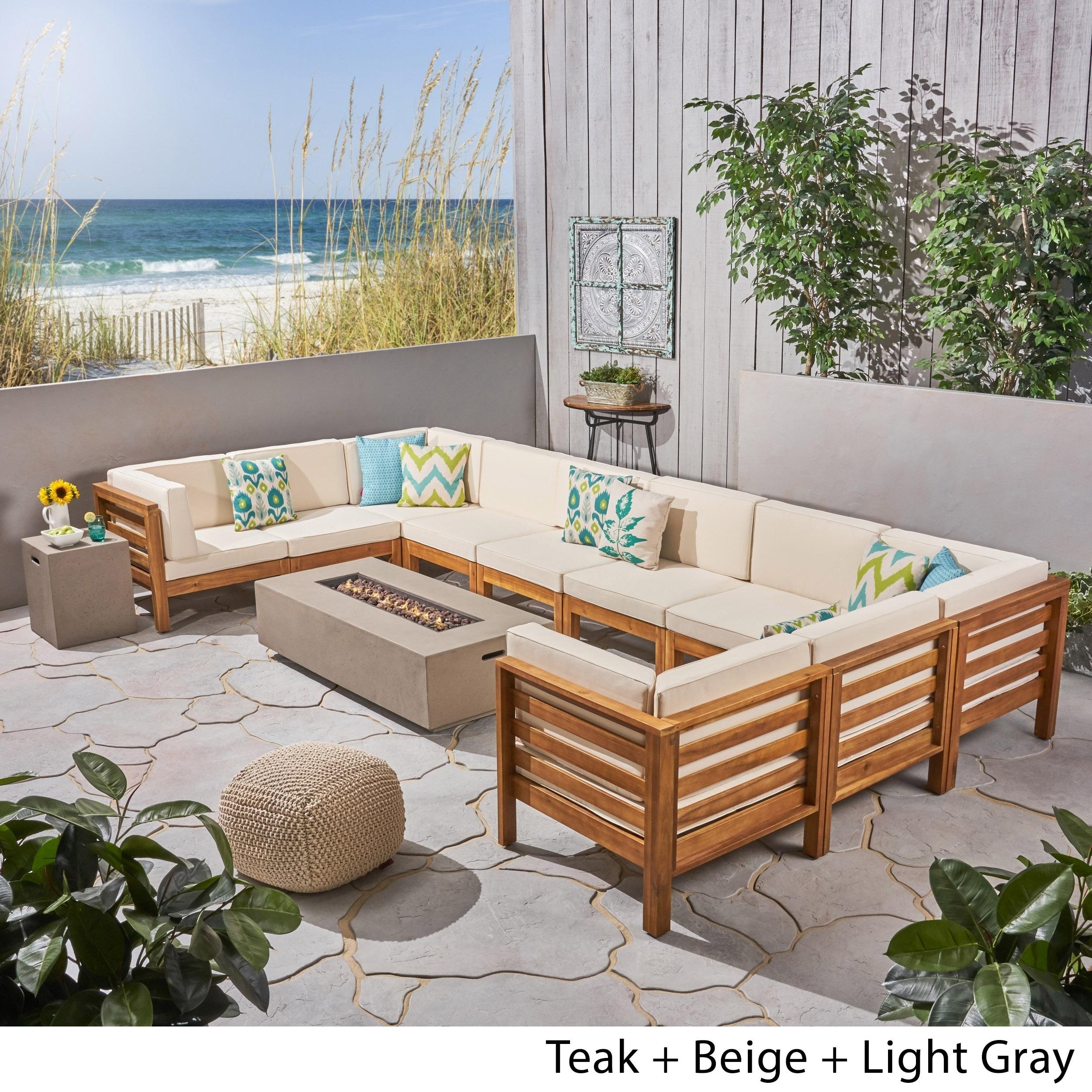 Shop Oana Outdoor 12 Piece U Shaped Acacia Wood Sectional Sofa Set