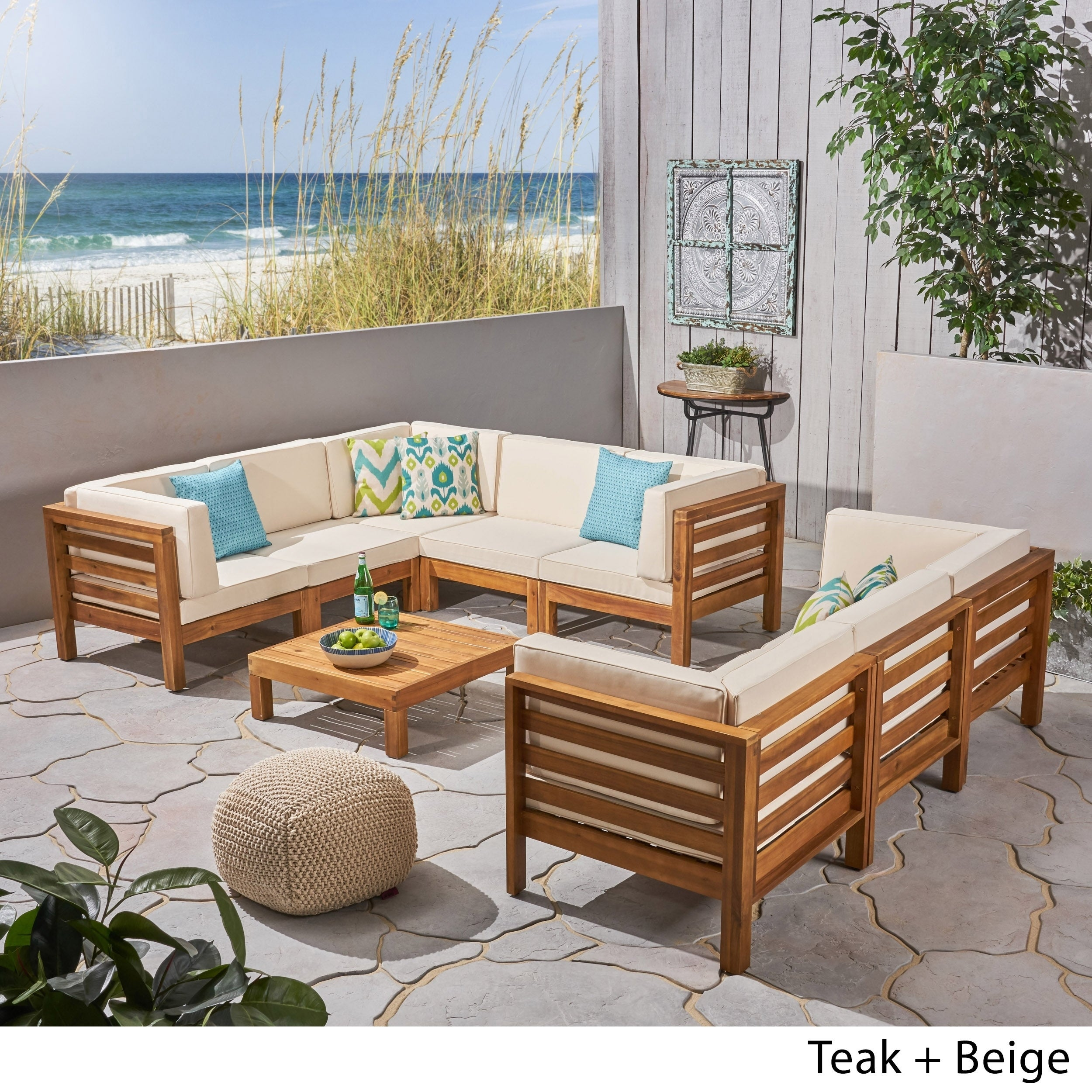 Oana Outdoor 9 Piece Acacia Wood Sectional Sofa Set With Coffee Table By Christopher Knight Home On Free Shipping Today 25598193