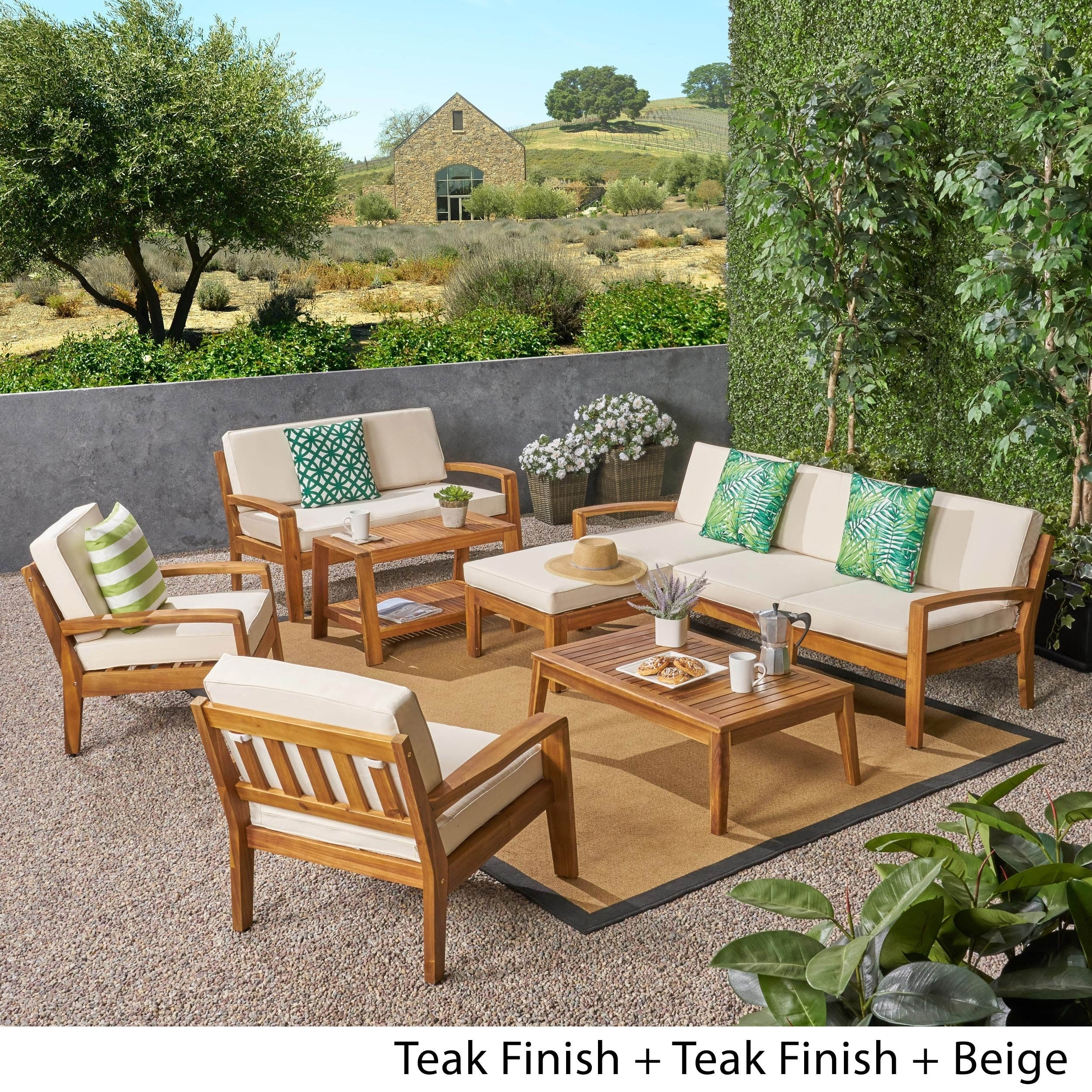 Grenada Outdoor 7 Seater Acacia Wood Sectional Sofa Set By Christopher Knight Home