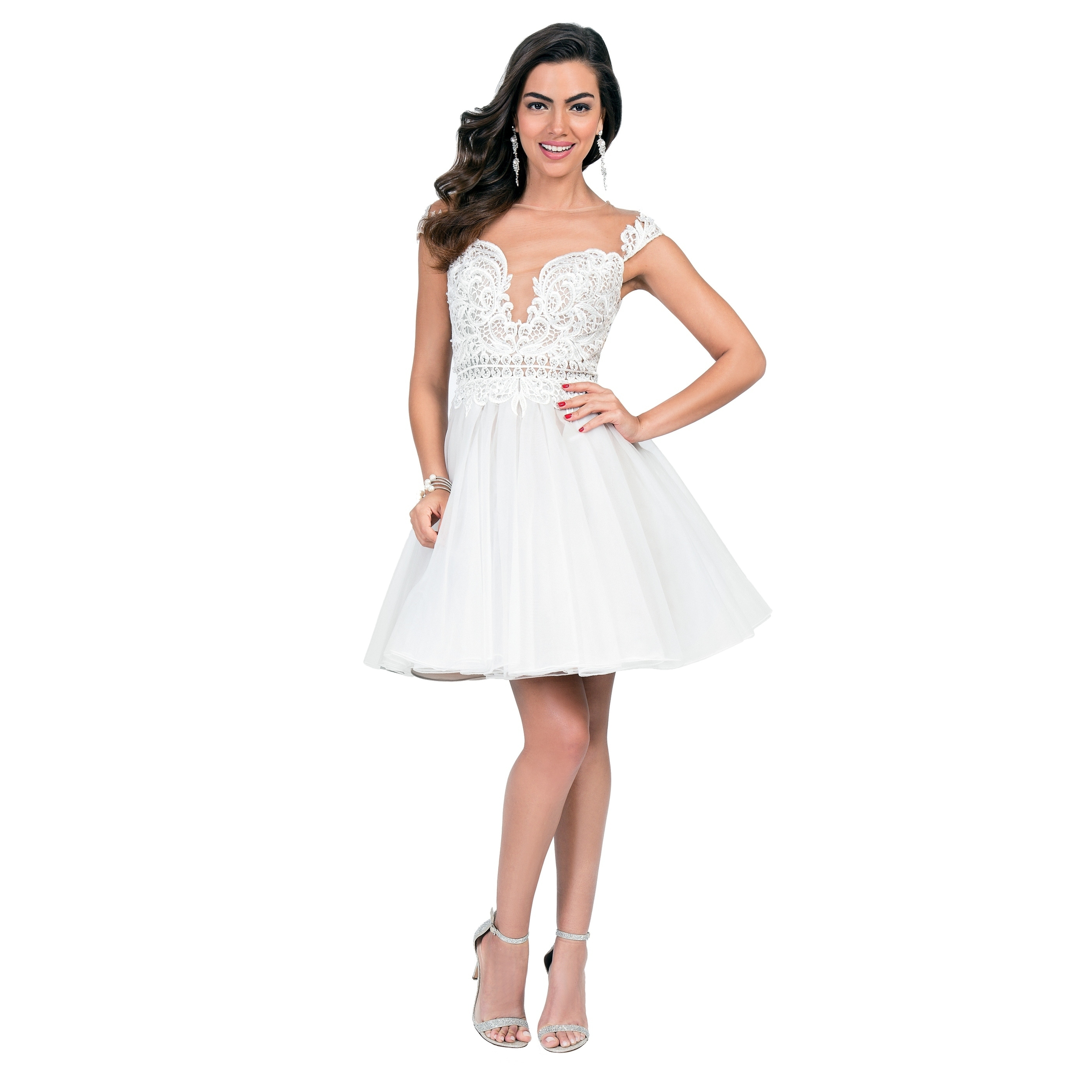 Terani Couture Illusion Off Shoulder Embroidered Top Short Ball Gown