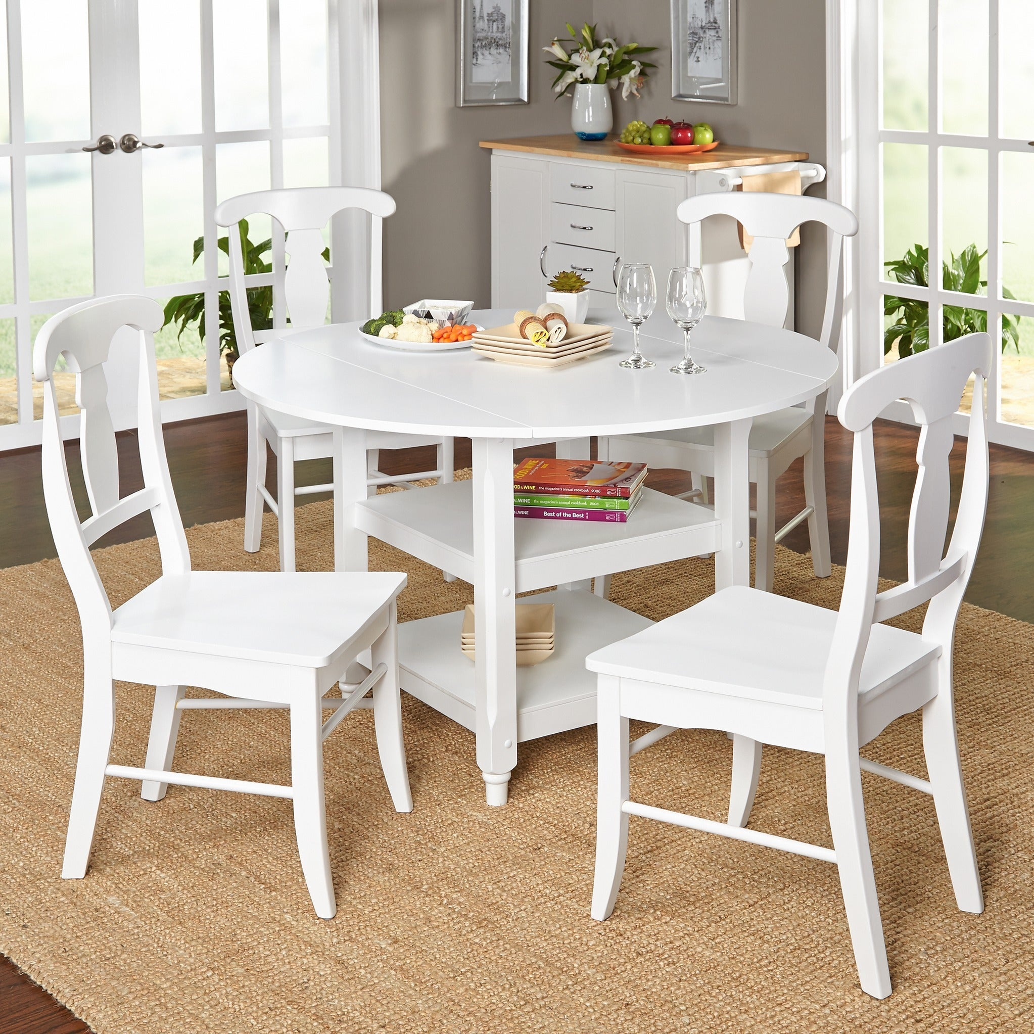Unique White Round Extending Dining Table