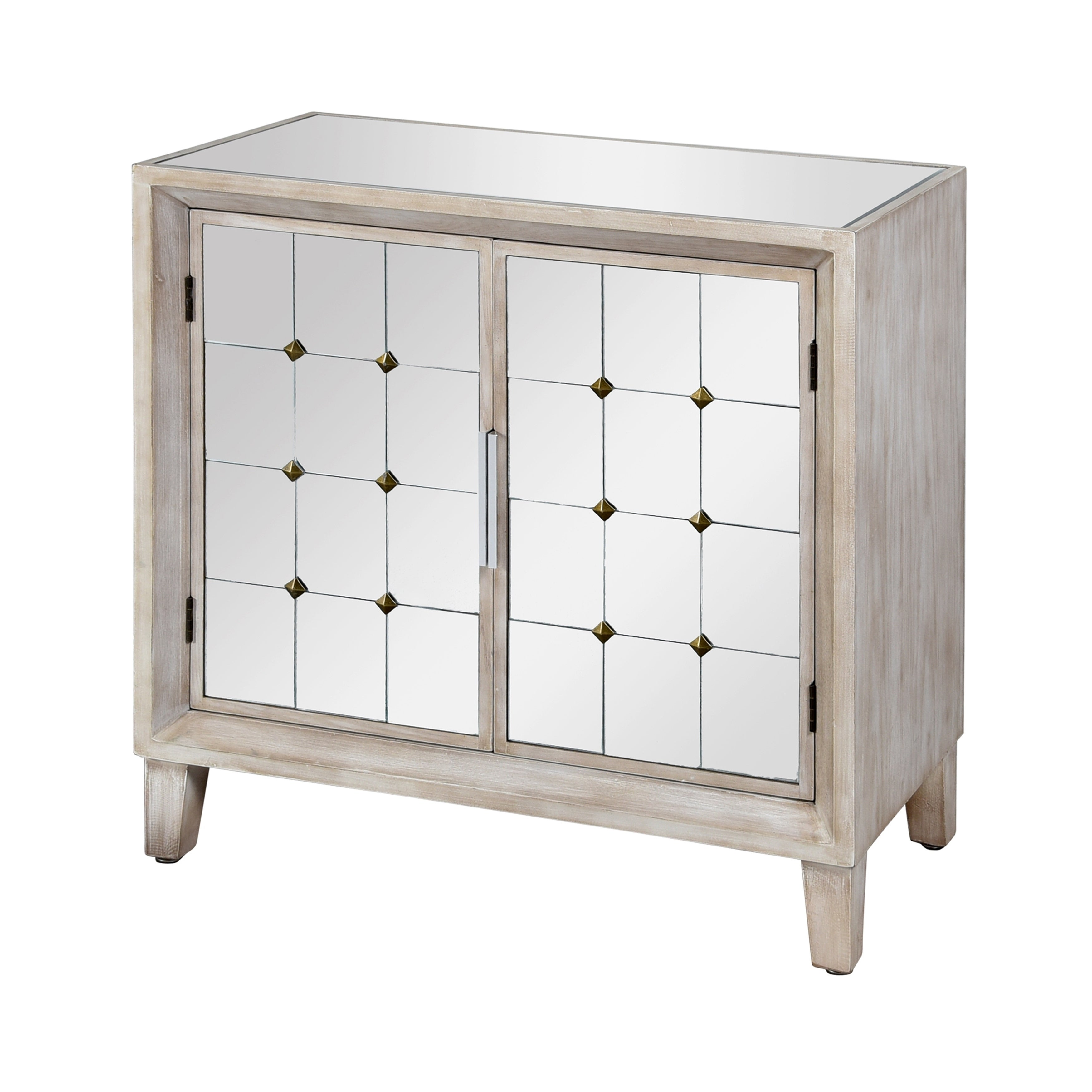 Shop Two Door Grey Ash Wooden Cabinet with Mirror Top Free