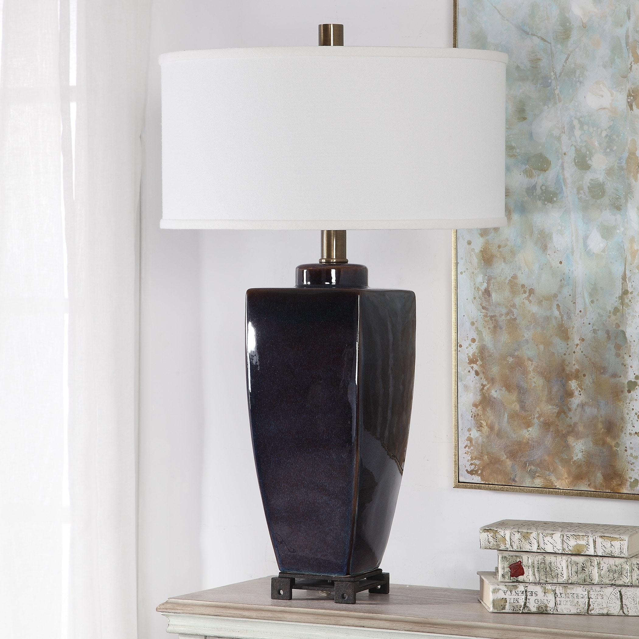 Uttermost Wilford Midnight Blue And Dark Bronze Table Lamp