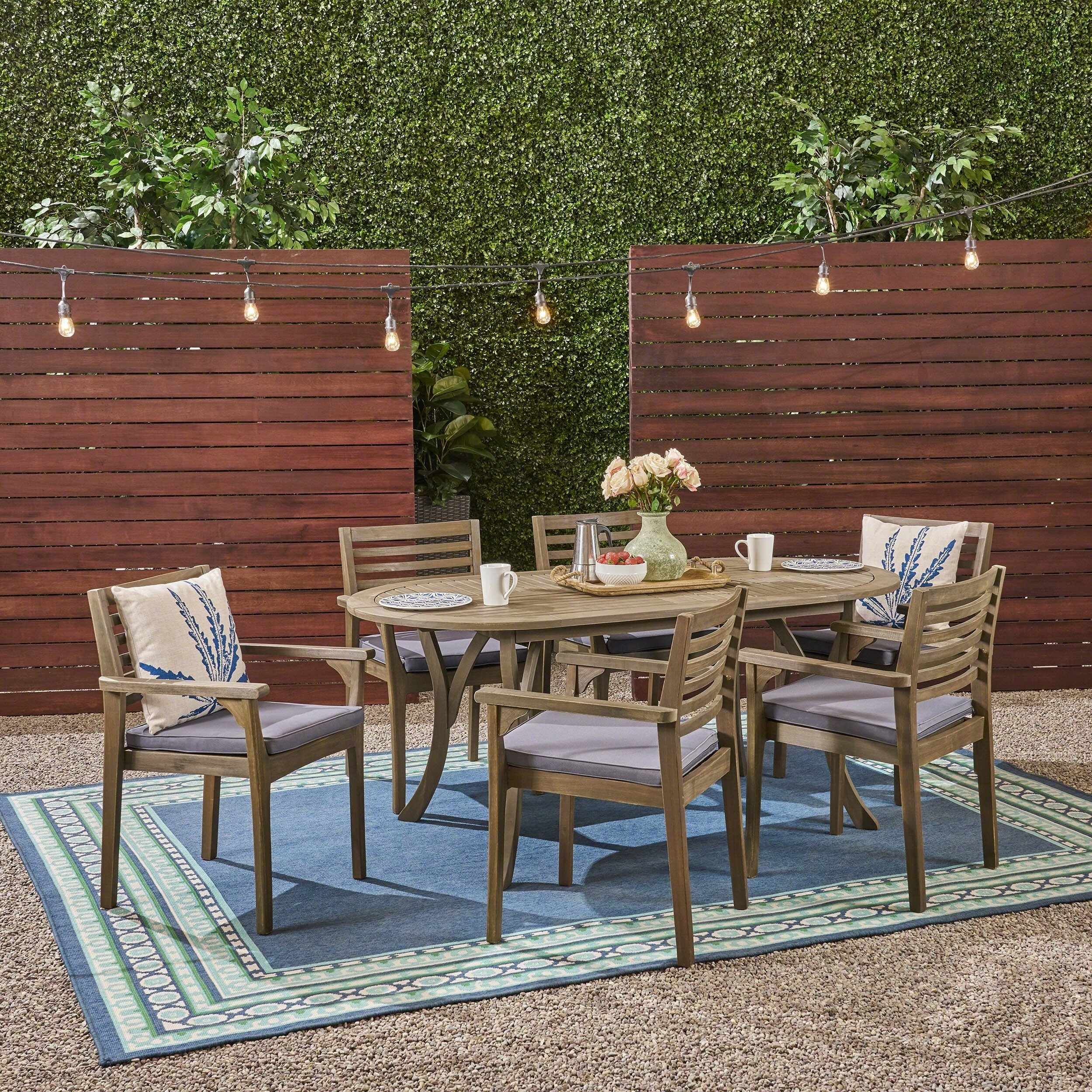 Shop casa outdoor 6 seater 70 oval acacia dining set with carved legs by christopher knight home on sale free shipping today overstock 25614318