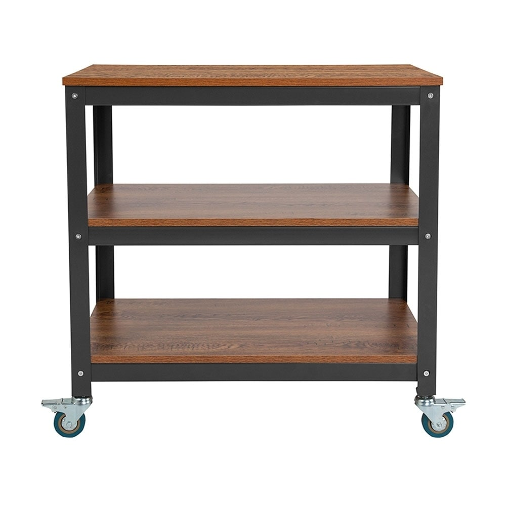 Shop offex 30 x 30 industrial style storage cart in brown oak wood grain finish with metal wheels free shipping today overstock com 25616127