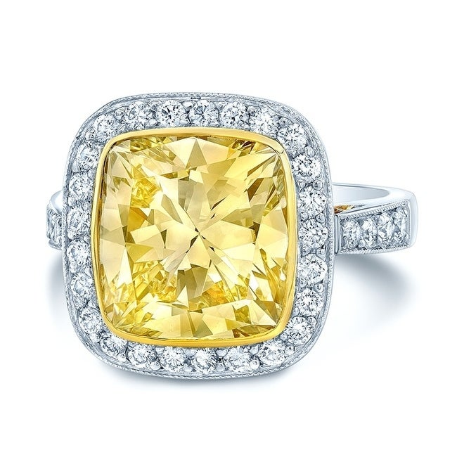 Platinum 18k Yellow Gold Cushion Cut Fancy Yellow Diamond 5 31 Ct T W Engagement Ring Size 6
