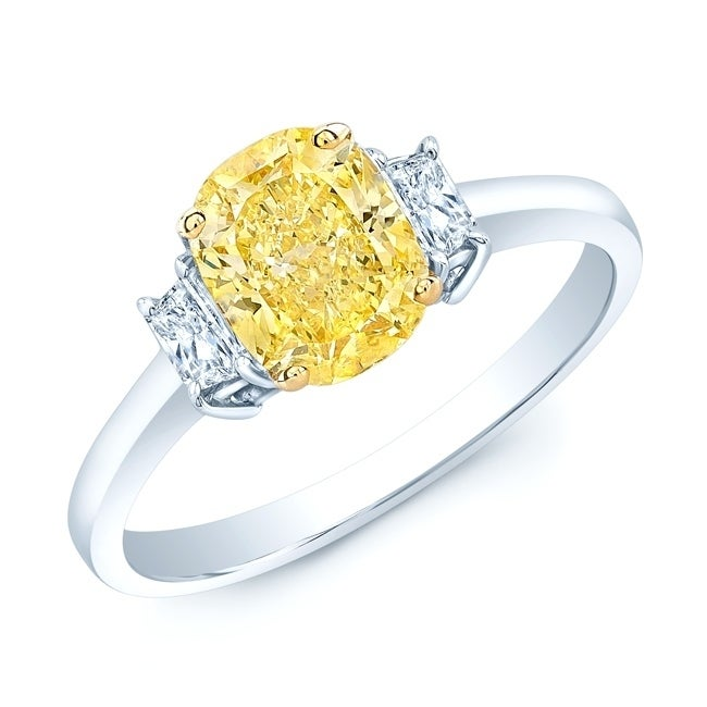 Platinum 18k Yellow Gold Cushion Cut Fancy Yellow Diamond 1 54 Ct T W Engagement Ring Size 6 5