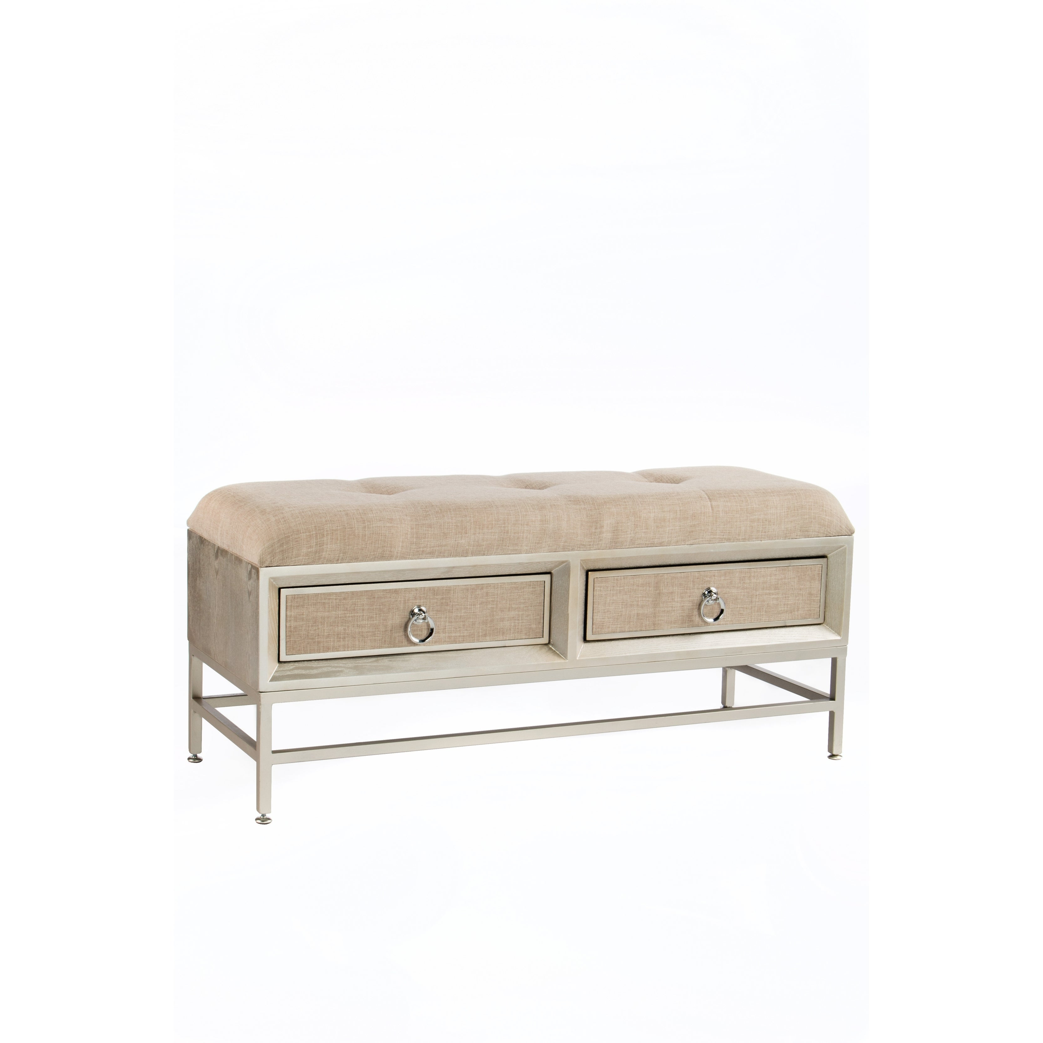 Statements By J Cidy Mid Century Modern Beige Linen Wood 20 Inch Tall Cushioned Entryway Bench With Drawers Free Shipping Today